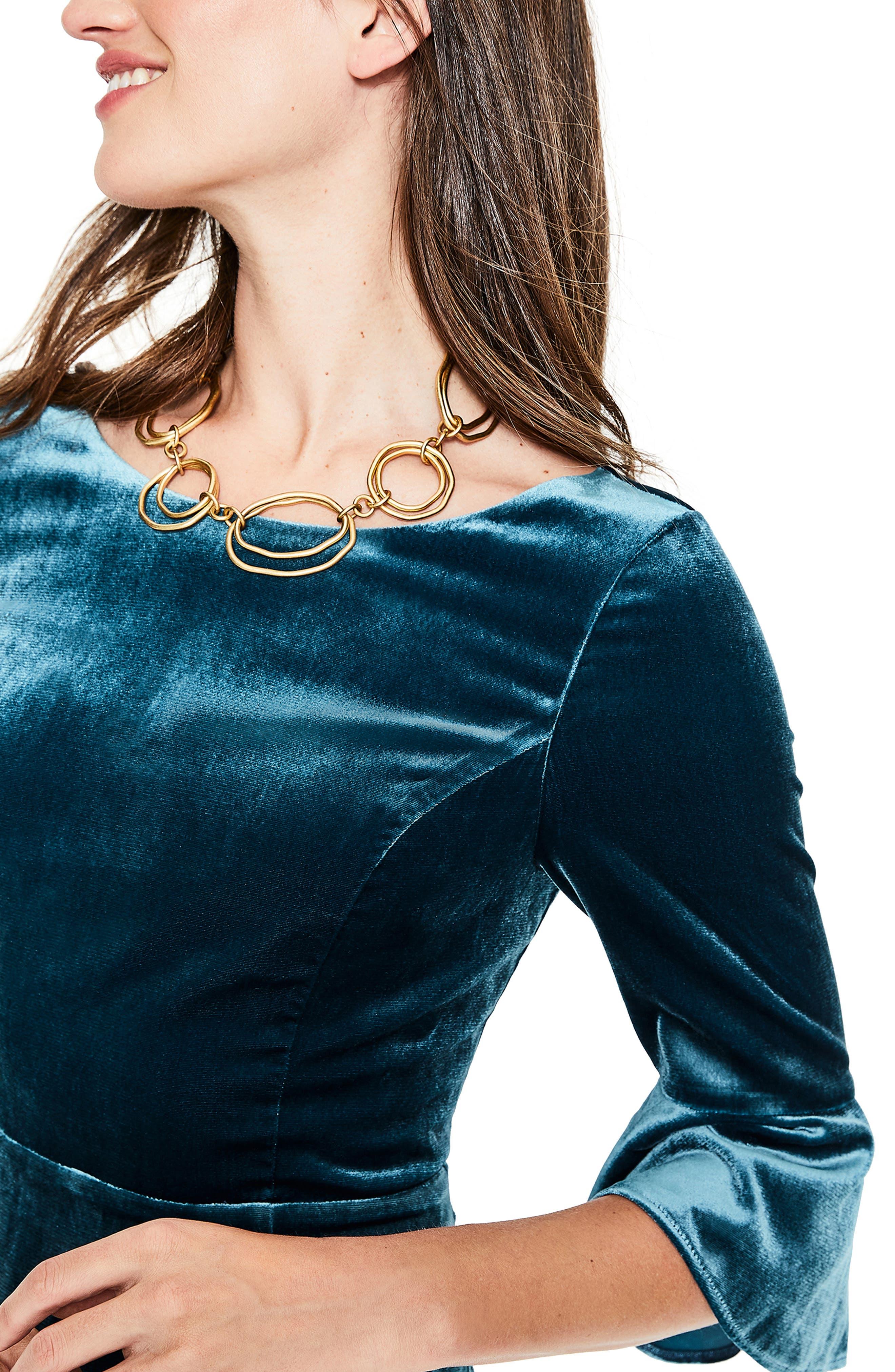 Aubrey Flounce Sleeve Velvet Dress,                             Alternate thumbnail 6, color,                             424