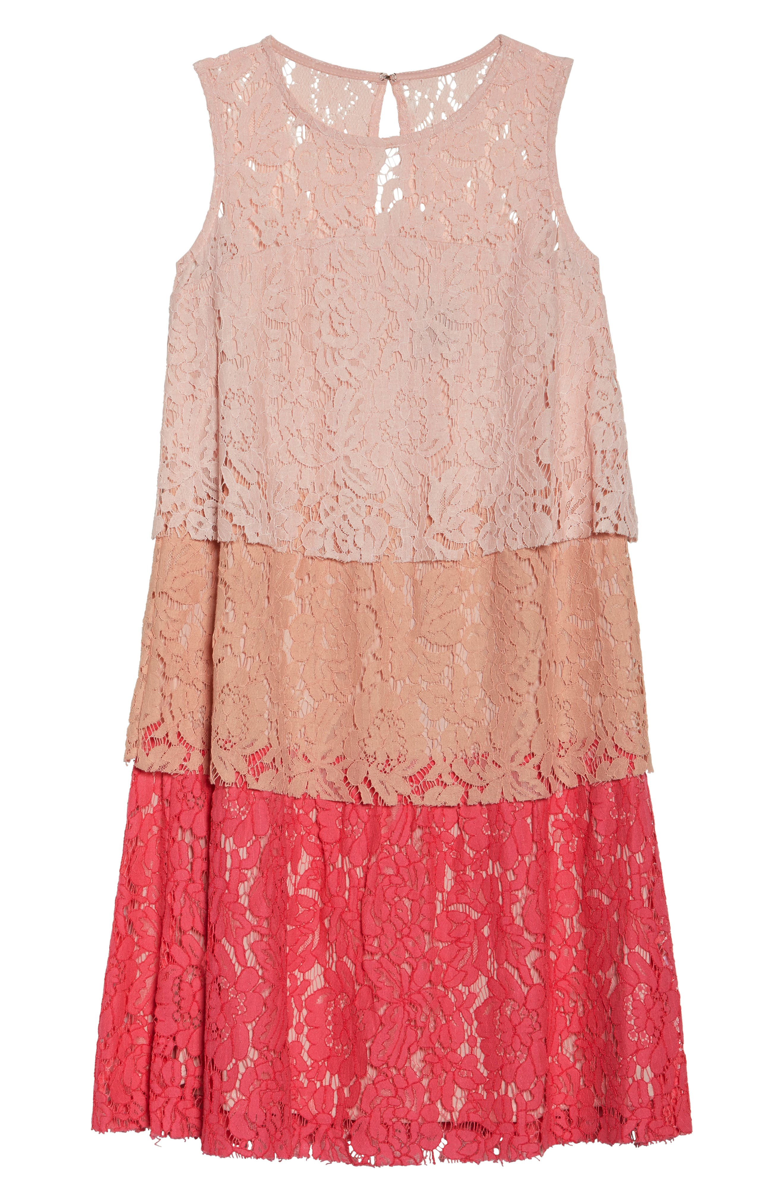 Sleeveless Tiered Lace Dress,                             Alternate thumbnail 6, color,