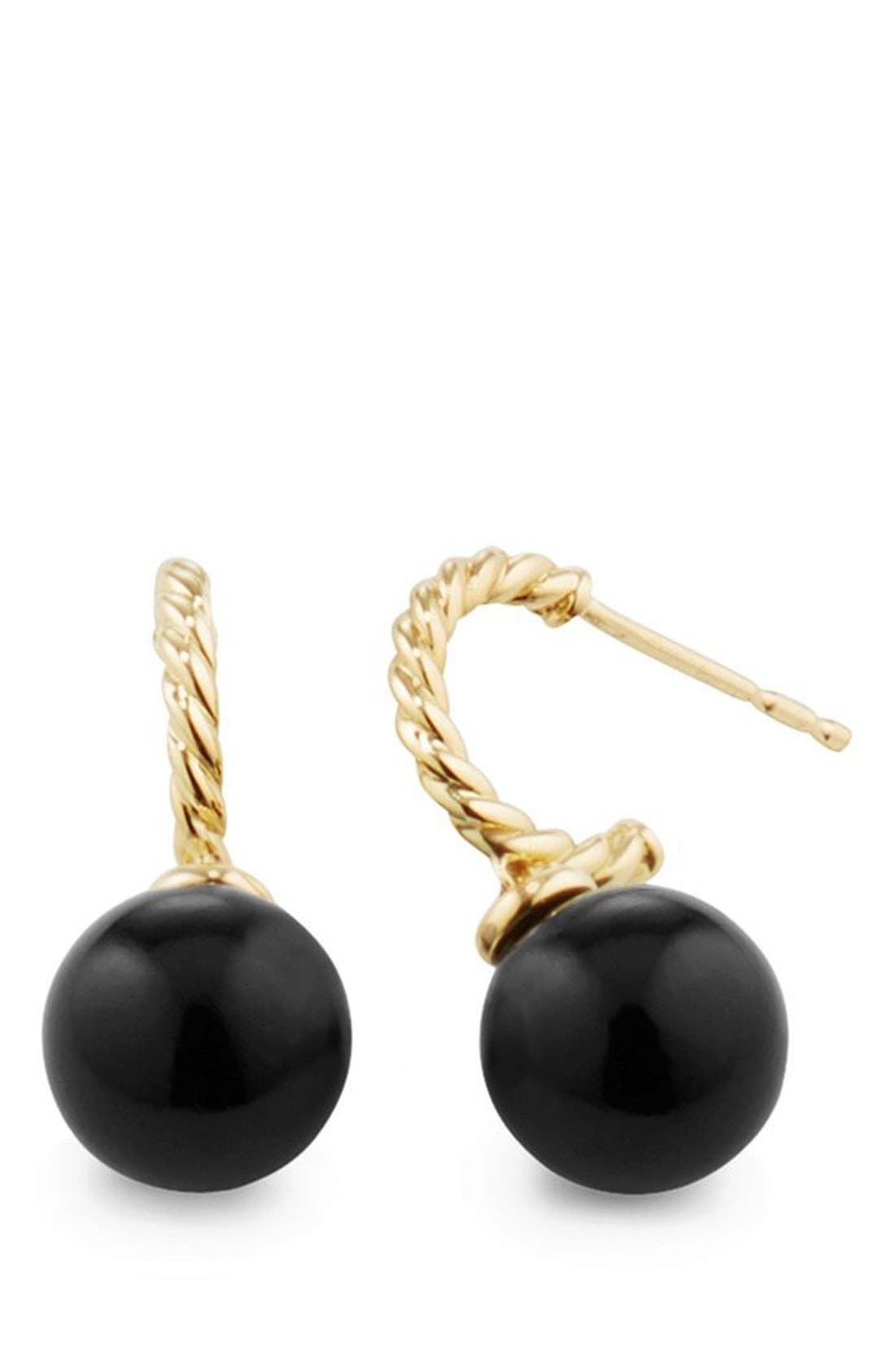 'Solari' Hoop Earrings in 18K Gold,                             Alternate thumbnail 2, color,                             BLACK ONYX