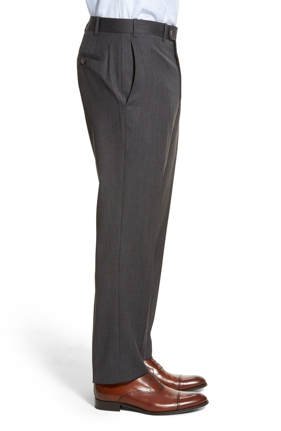 Torino Flat Front Solid Wool Trousers,                             Alternate thumbnail 2, color,                             020