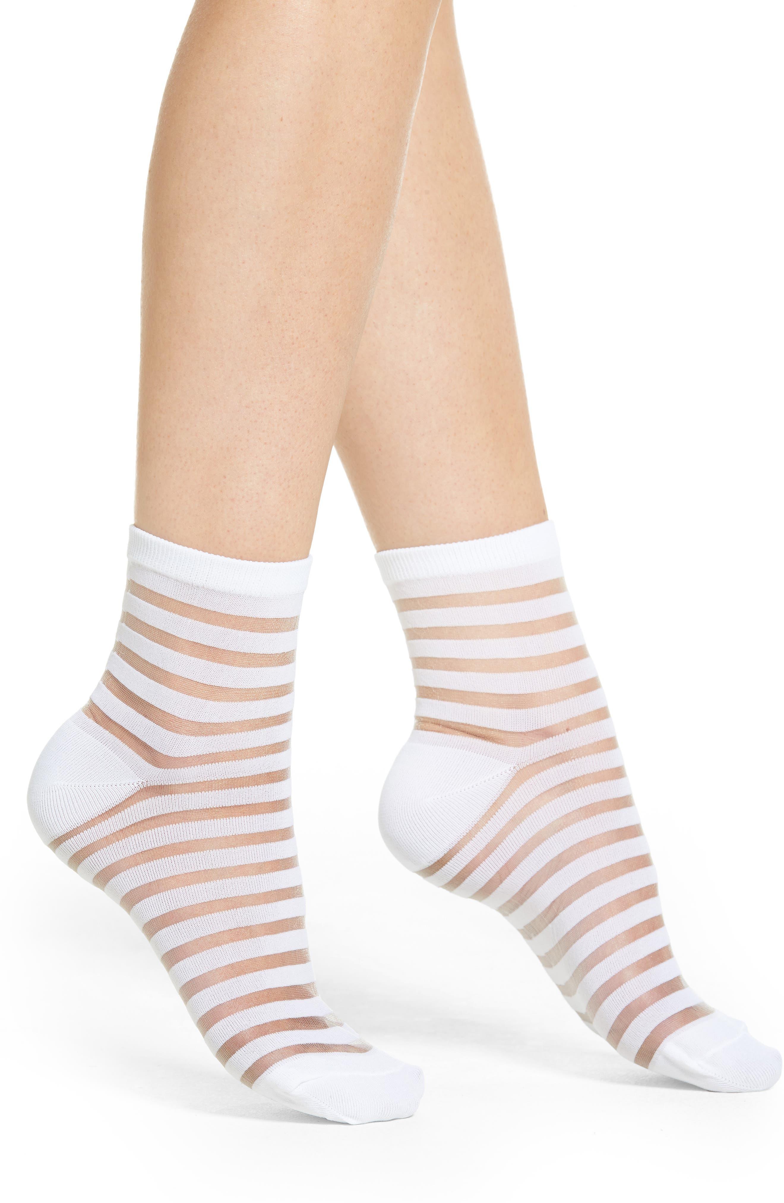 sheer stripe ankle socks,                             Main thumbnail 3, color,