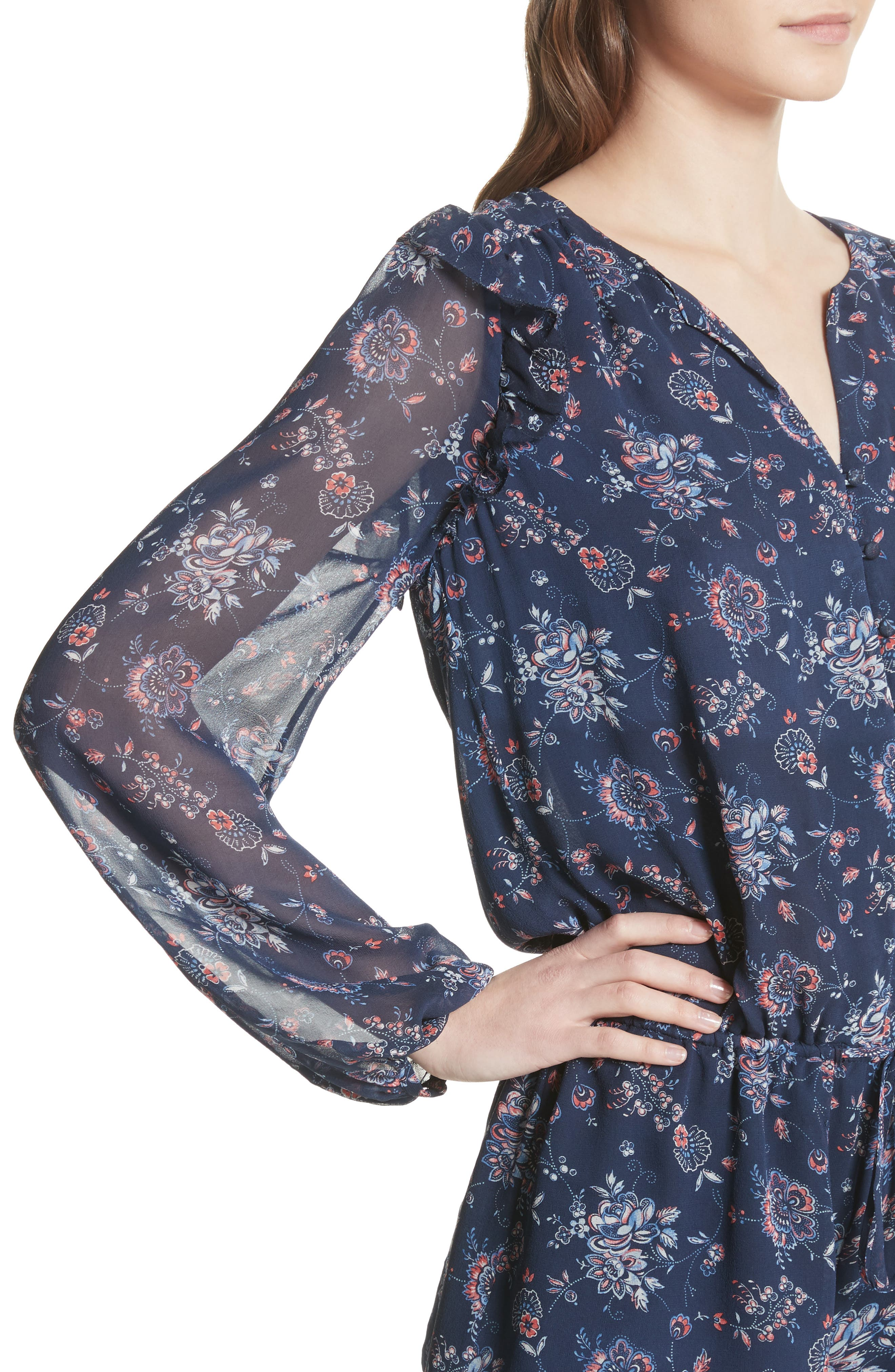 Cherita Floral Silk Romper,                             Alternate thumbnail 4, color,                             418