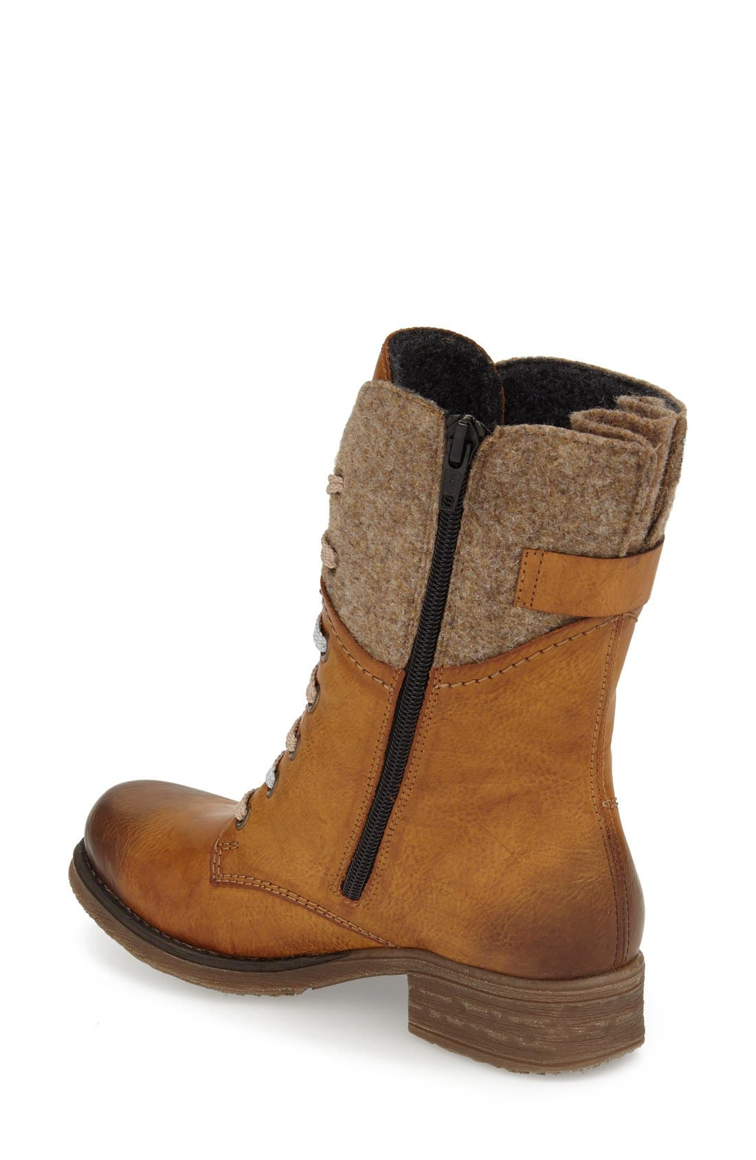 RIEKER ANTISTRESS,                             'Fee 04' Lace-Up Boot,                             Alternate thumbnail 2, color,                             BROWN FAUX LEATHER