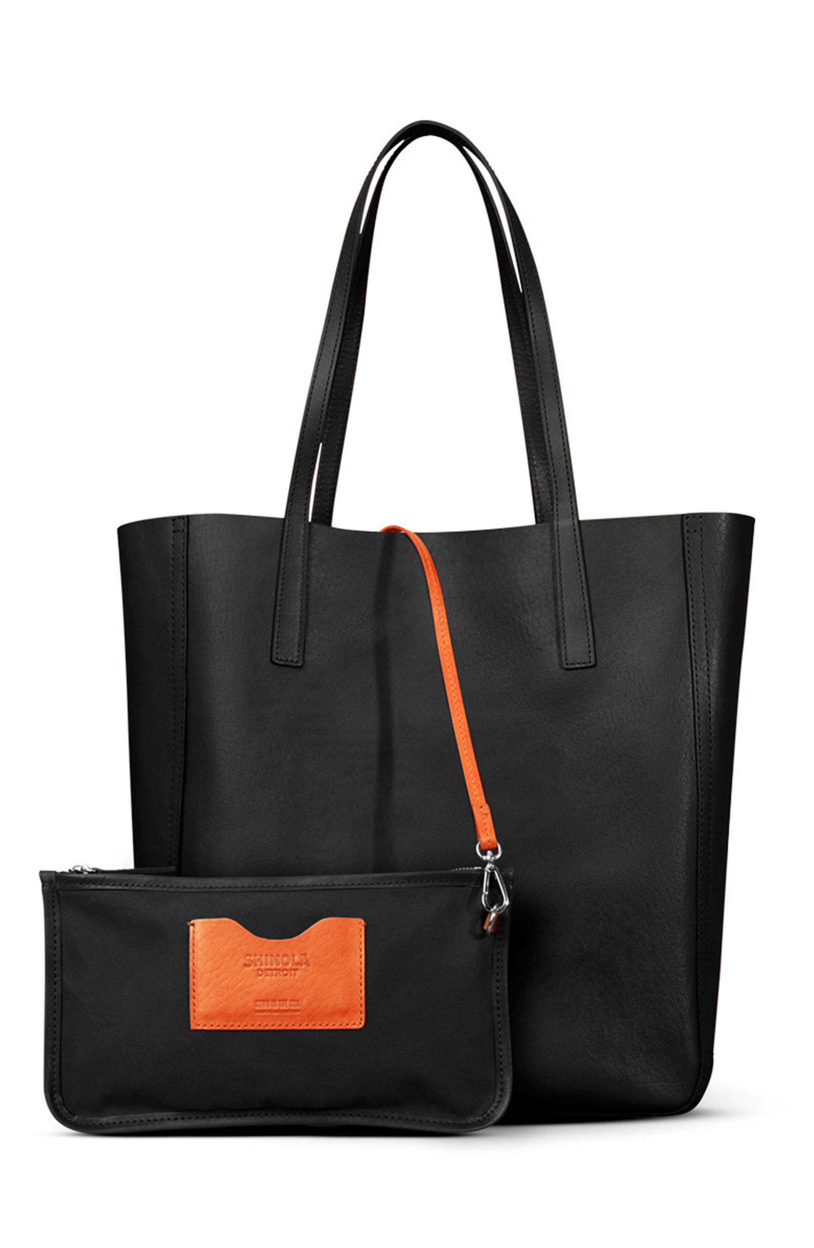 Medium Leather Shopper,                         Main,                         color, BLACK