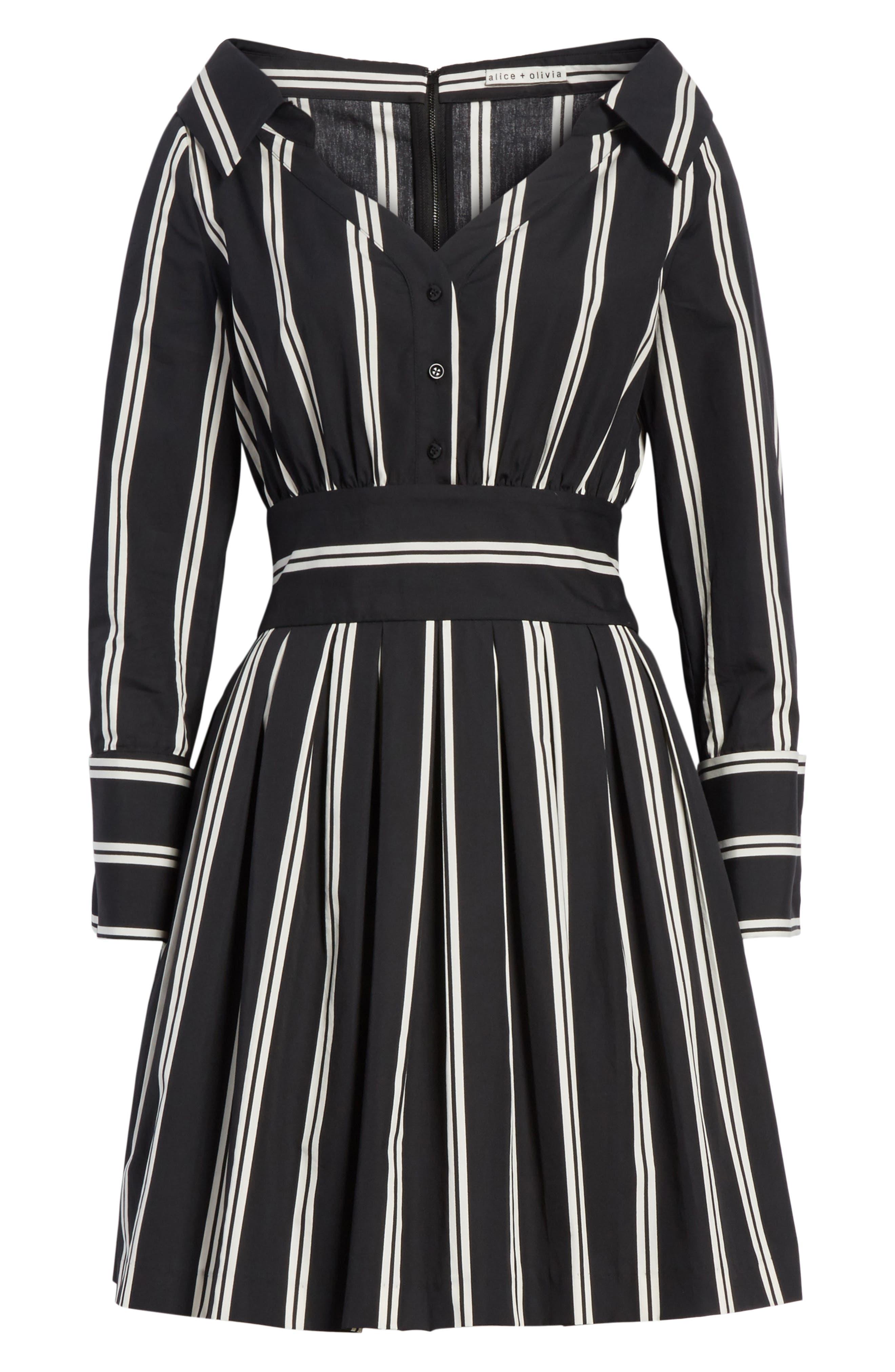Iliana Stripe Fit & Flare Dress,                             Alternate thumbnail 6, color,                             002