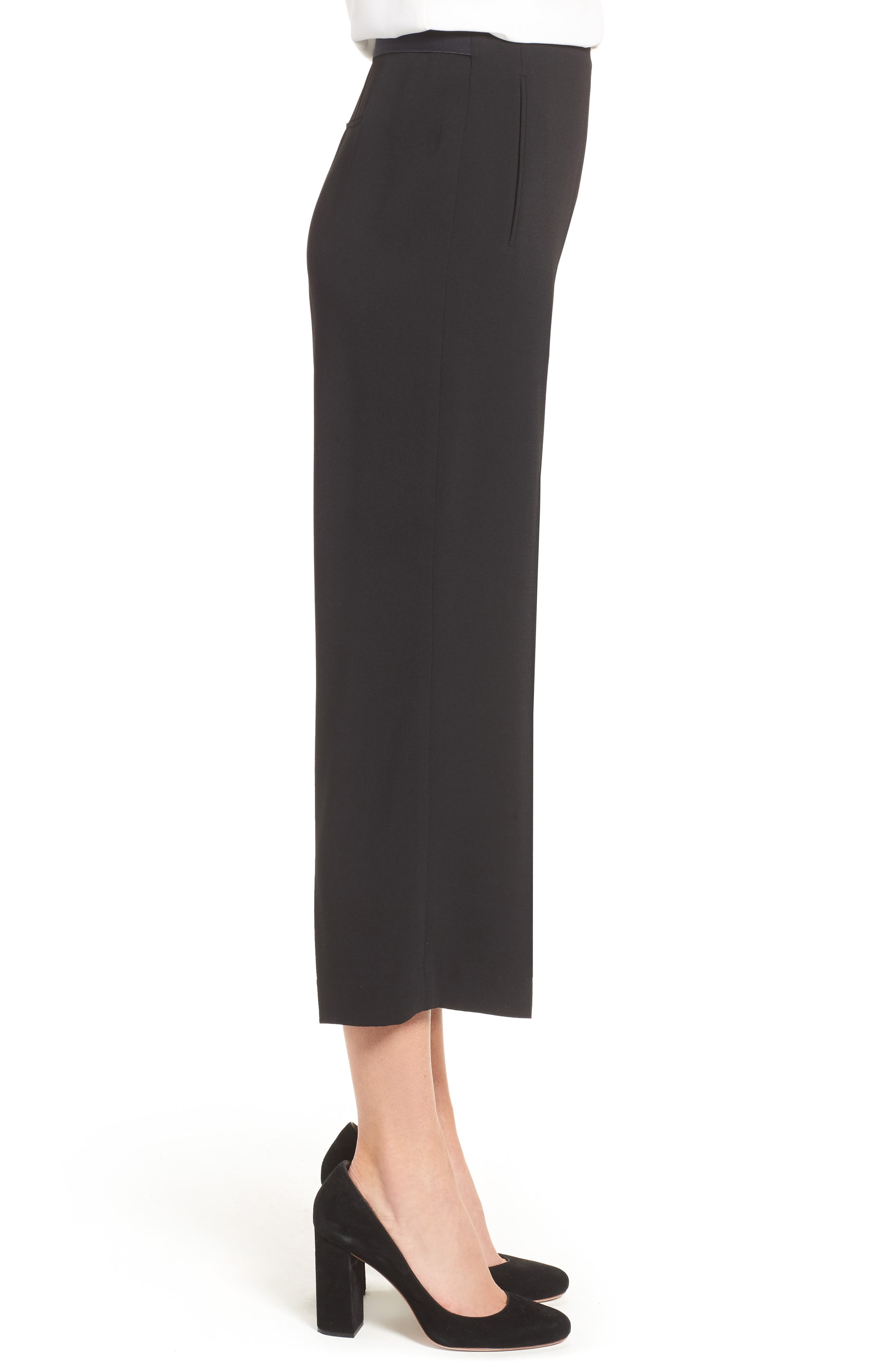 Moss Crepe Crop Trousers,                             Alternate thumbnail 3, color,                             001
