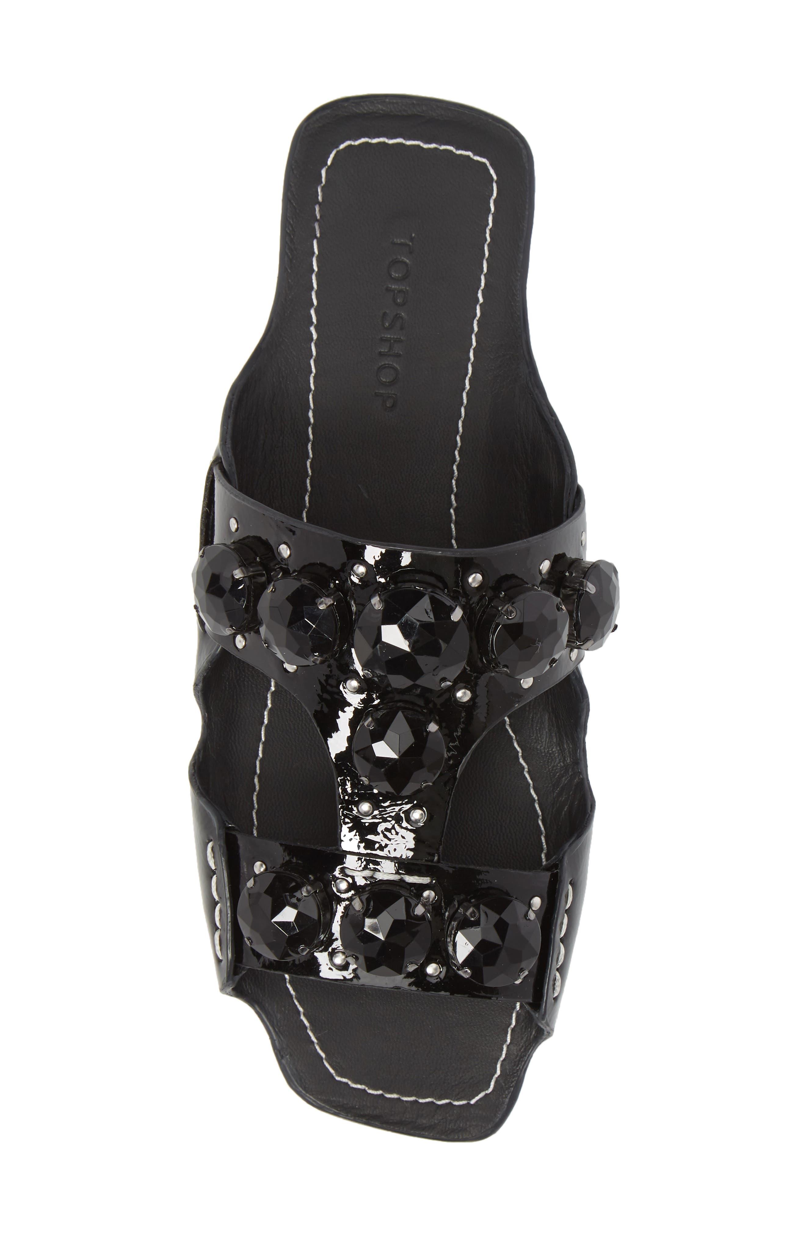 Fascinate Gem Slide Sandal,                             Alternate thumbnail 5, color,                             BLACK