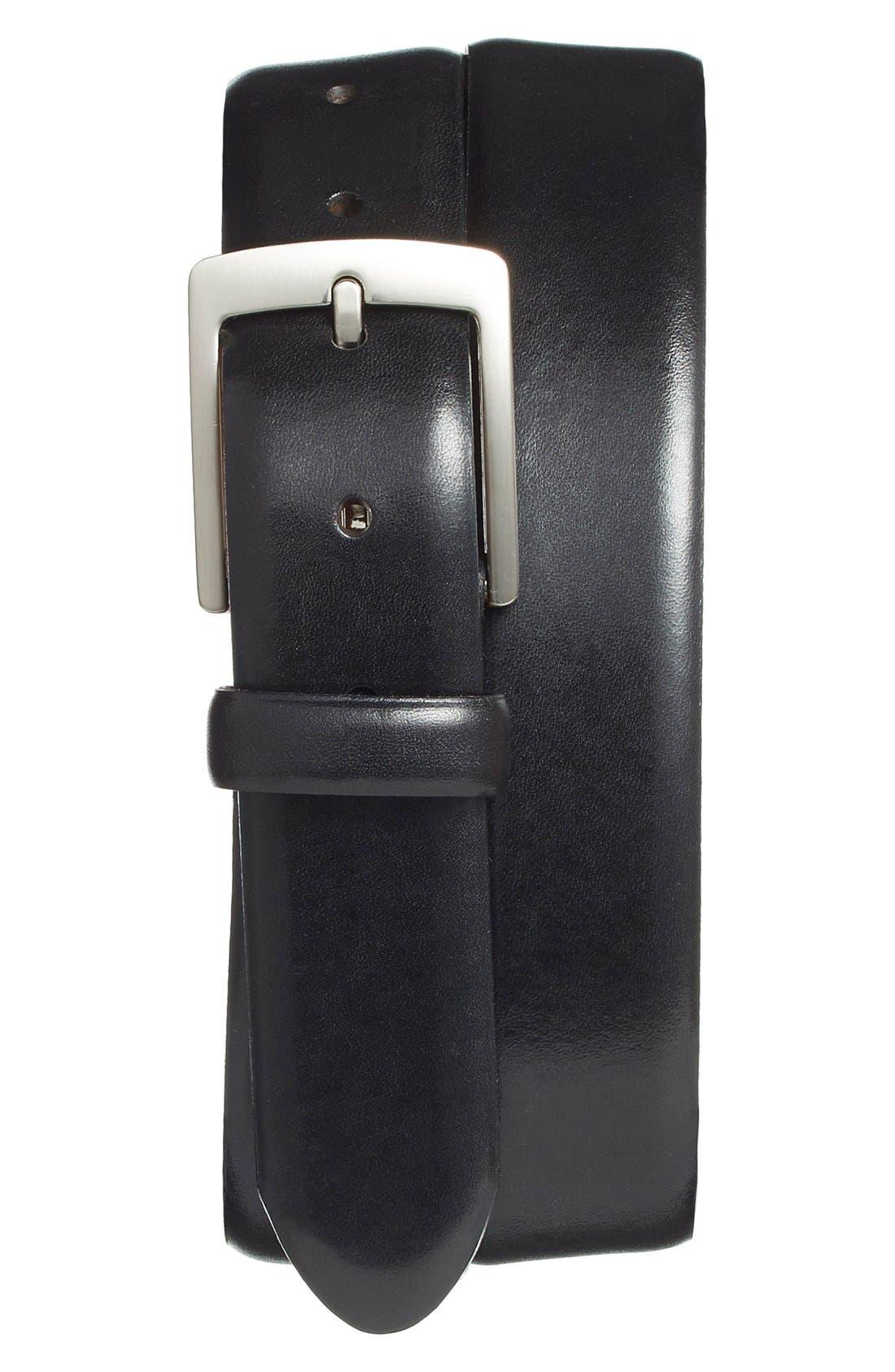 Leather Dress Belt,                         Main,                         color, BLACK OLD LEATHER