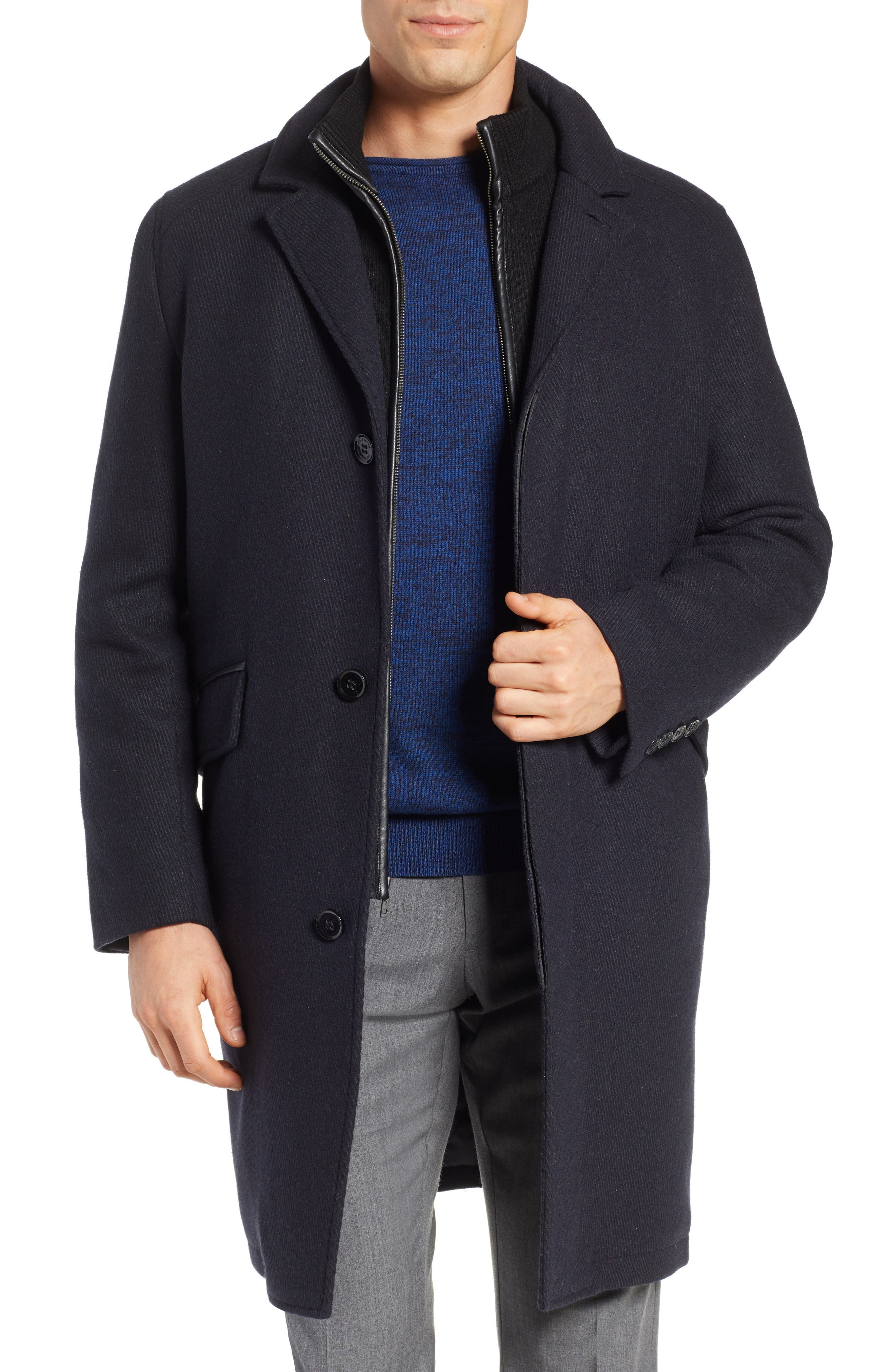 Wool Blend Overcoat with Knit Bib Inset, Main, color, 410