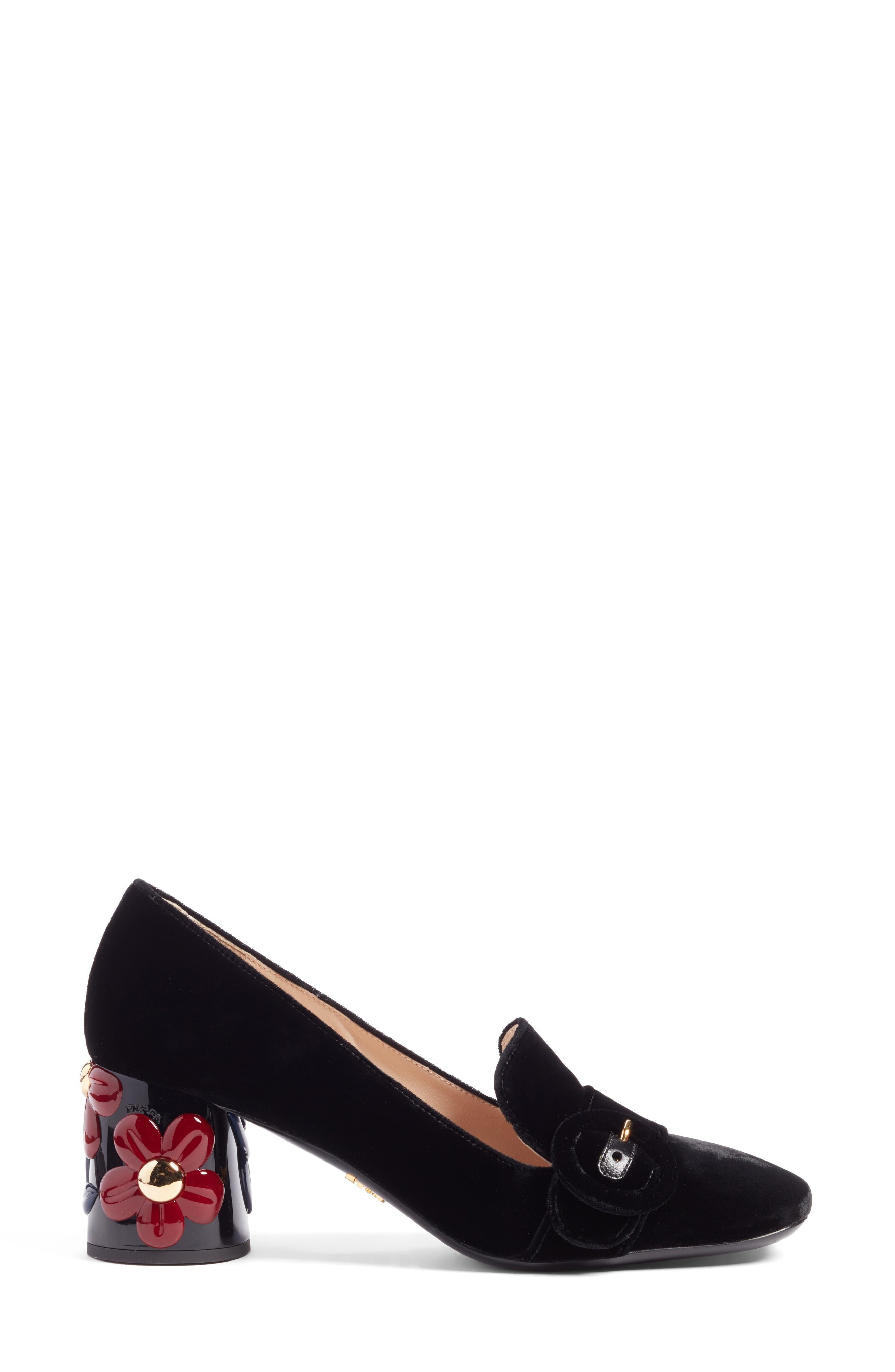 Embellished Block Heel Loafer Pump,                             Alternate thumbnail 3, color,                             001