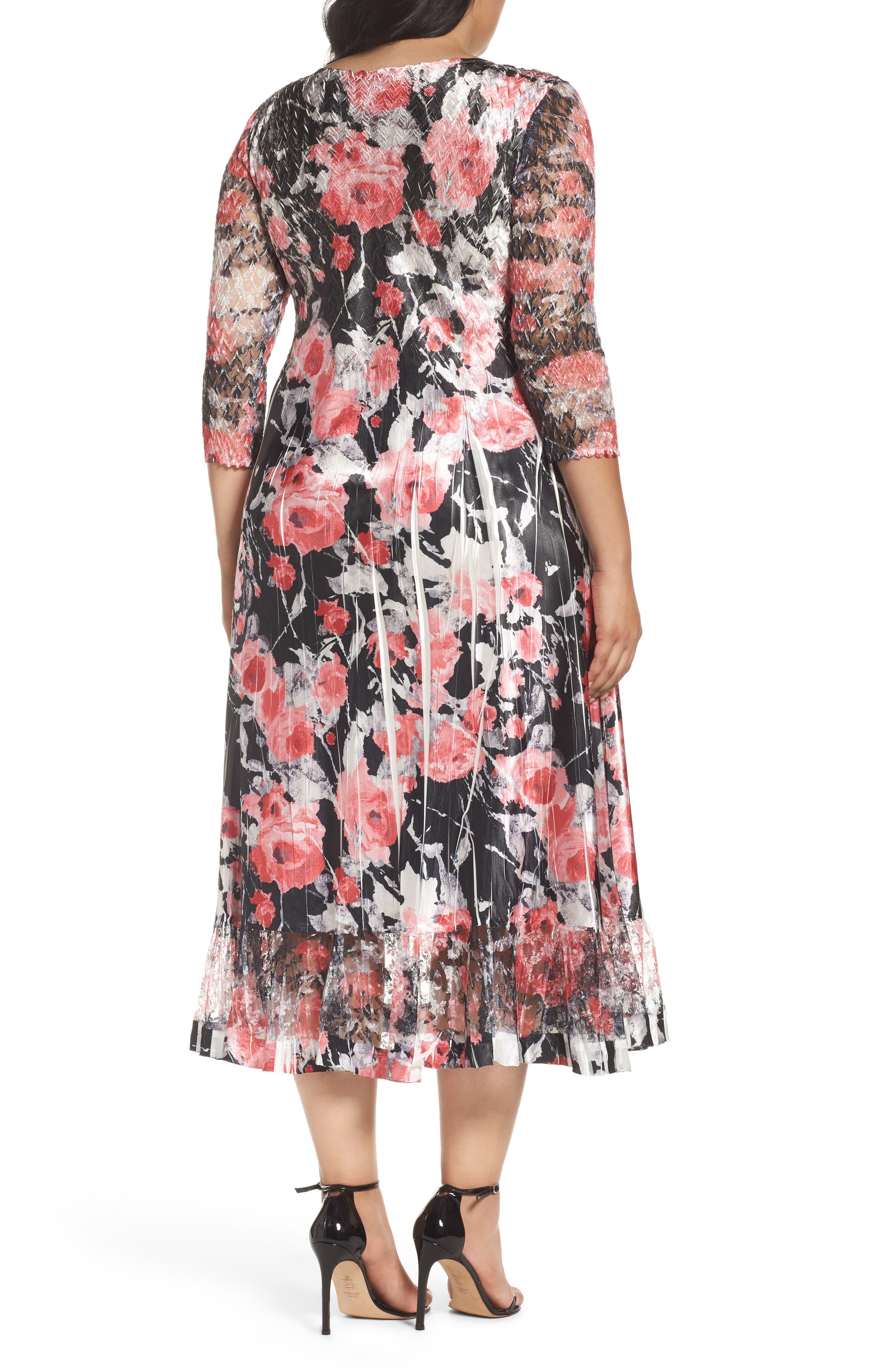 Print A-Line Midi Dress,                             Alternate thumbnail 2, color,                             608