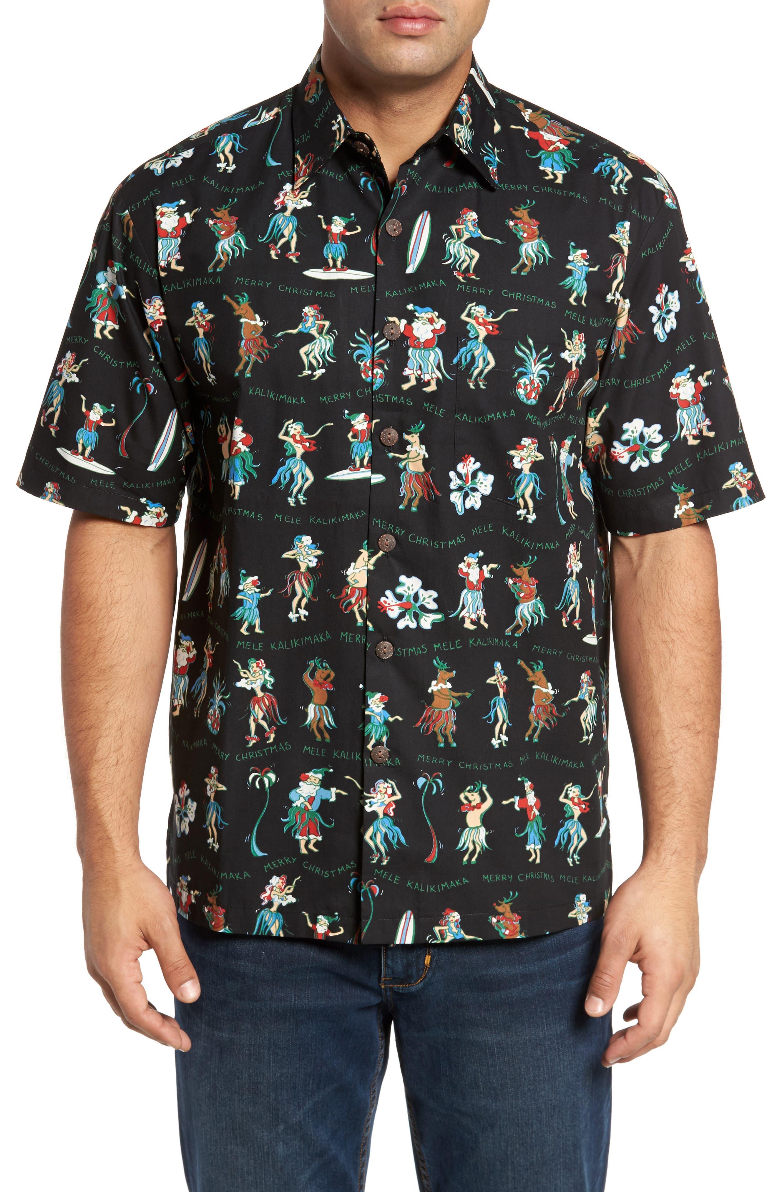 Kalikimaka Classic Fit Print Camp Shirt,                             Main thumbnail 1, color,                             001
