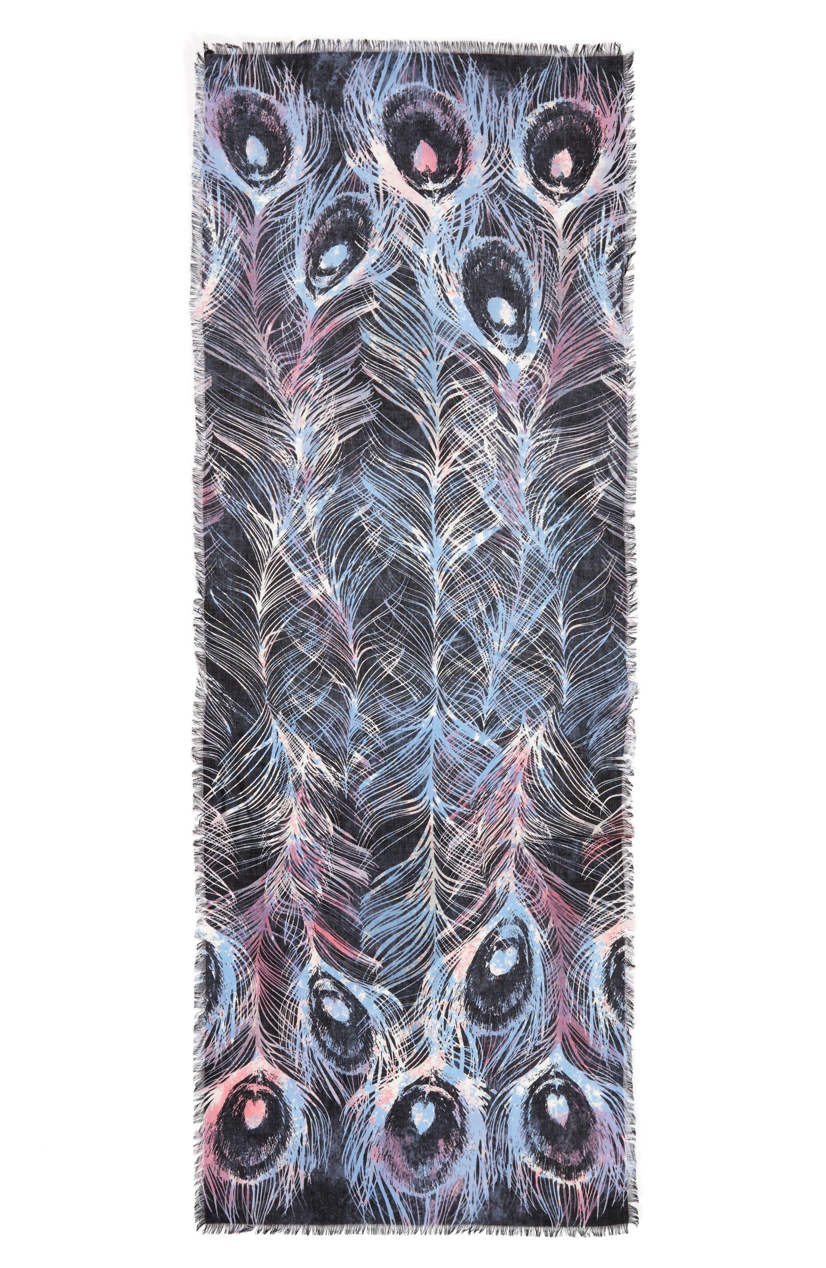 Modern Peacock Silk & Cashmere Scarf,                             Alternate thumbnail 3, color,                             001