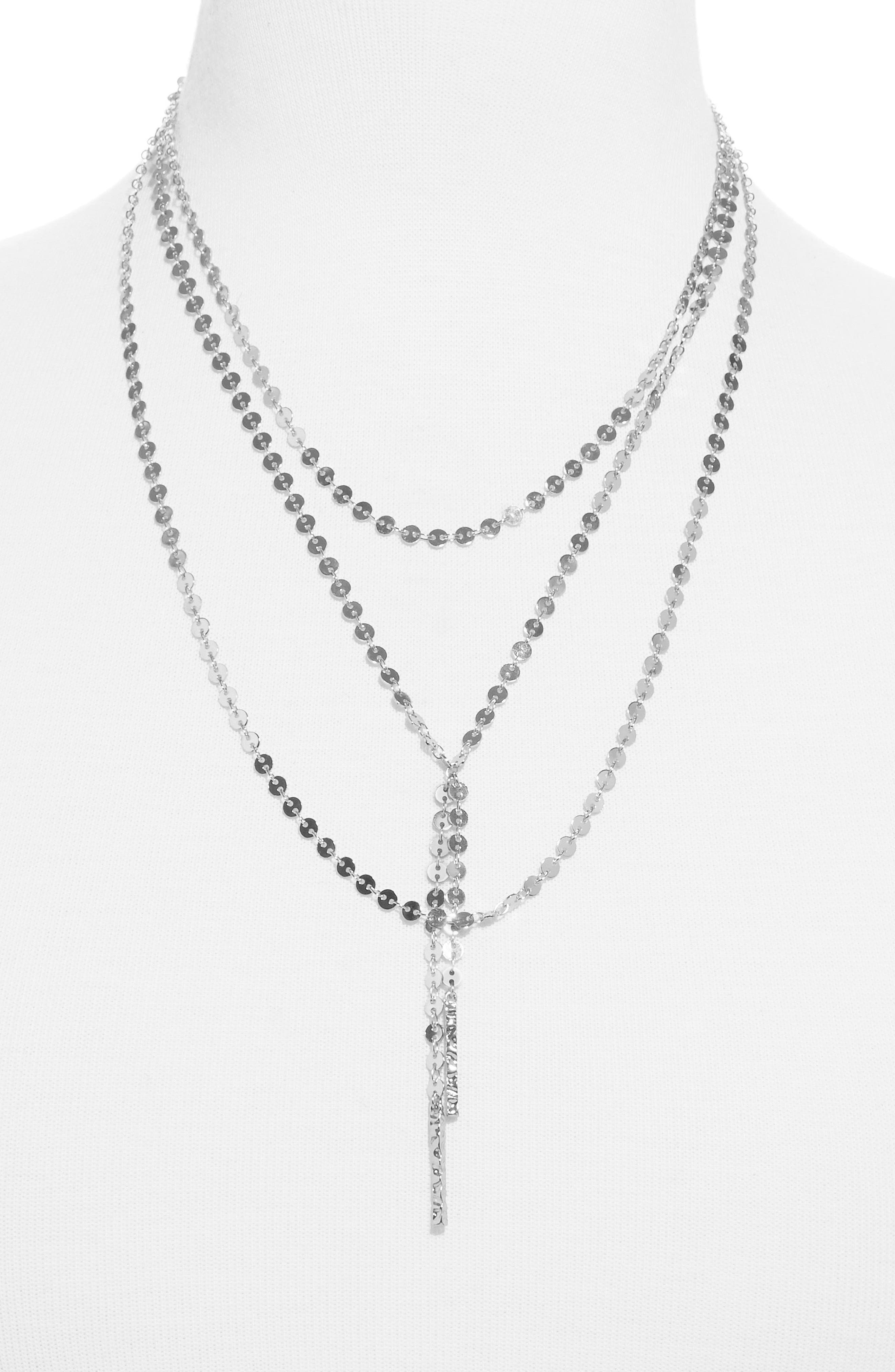 BAUBLEBAR,                             Amber Layered Chain Y-Necklace,                             Main thumbnail 1, color,                             SILVER