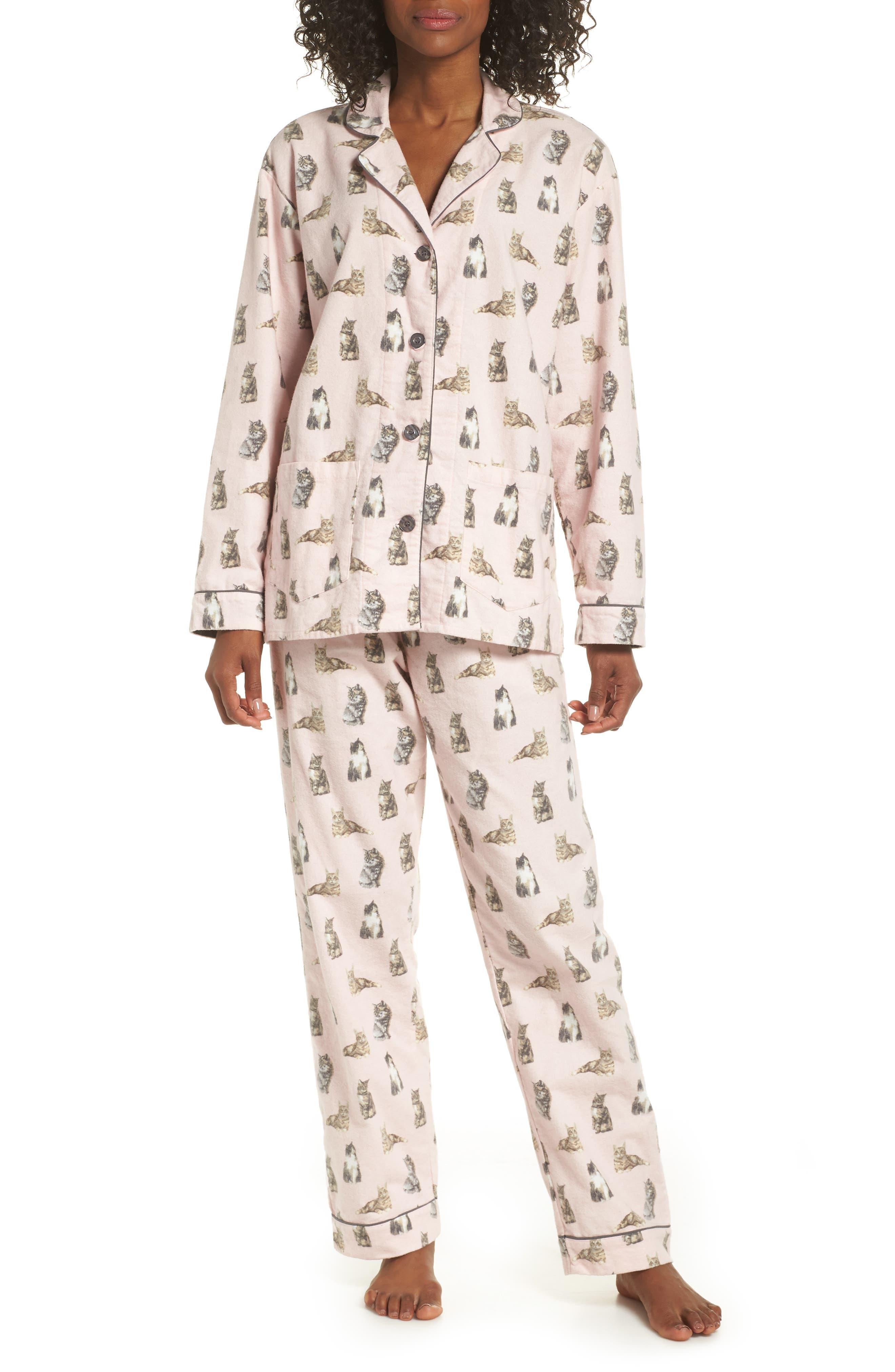 Pj Salvage Print Flannel Pajamas, Pink