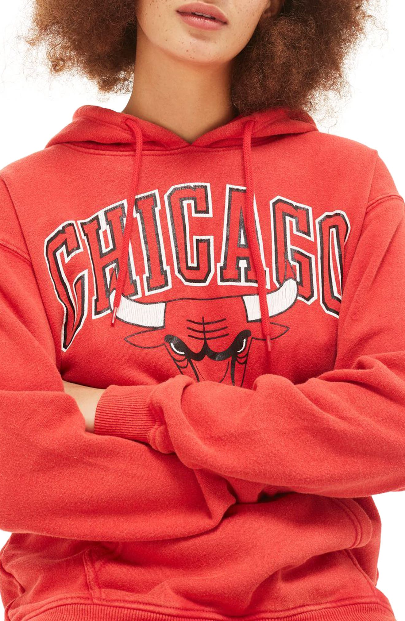 TOPSHOP,                             by x UNX Chicago Bulls Hoodie,                             Alternate thumbnail 3, color,                             601