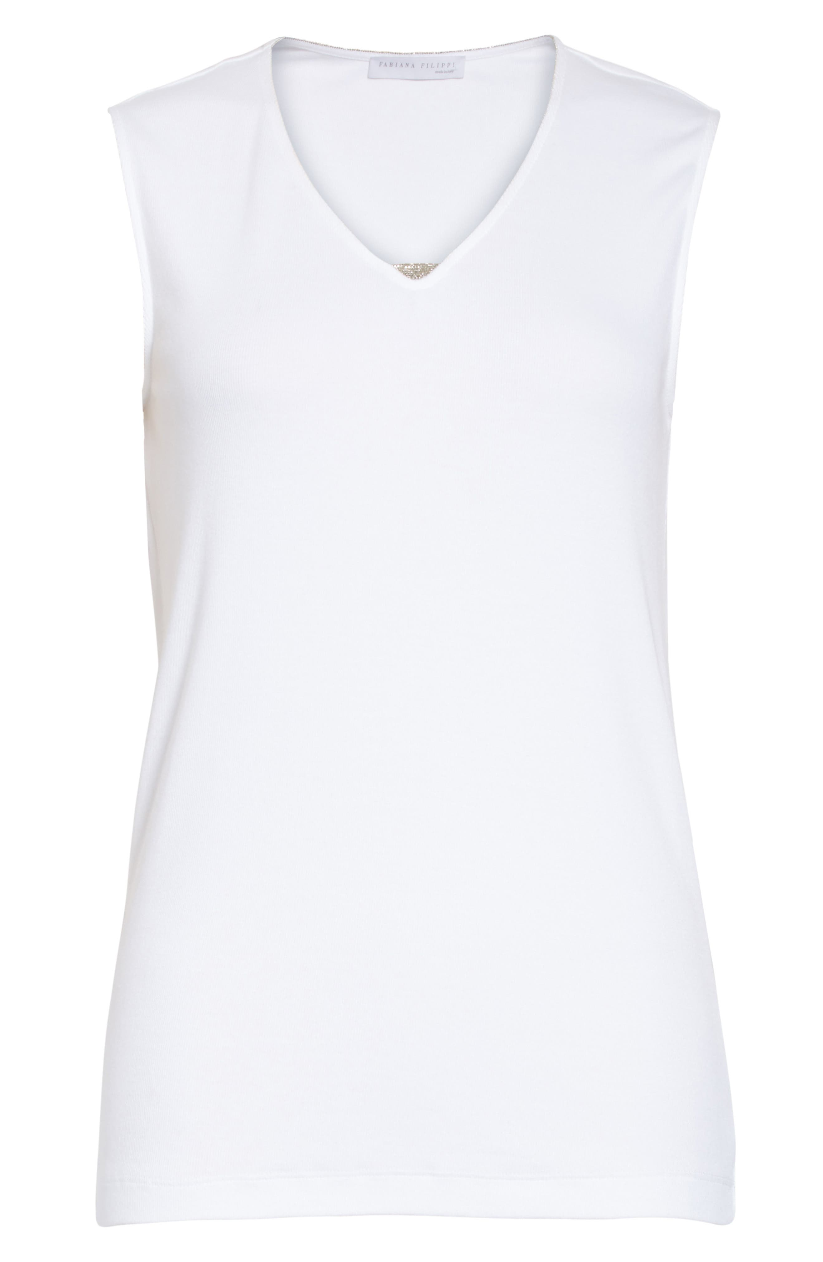 Beaded Ribbed Cotton Blend Jersey Tank,                             Alternate thumbnail 6, color,                             100