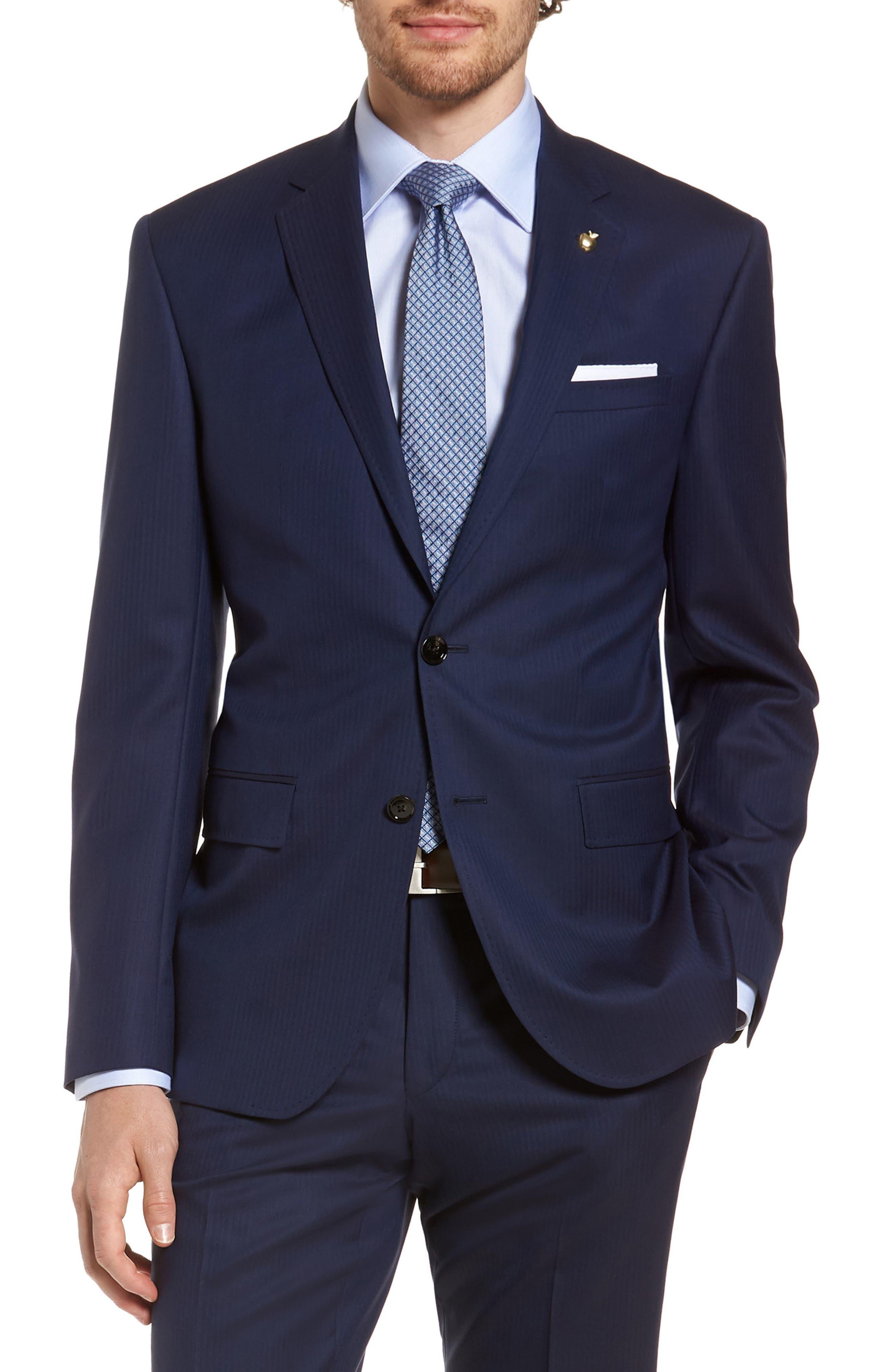Jay Trim Fit Stripe Wool Suit,                             Alternate thumbnail 7, color,                             410