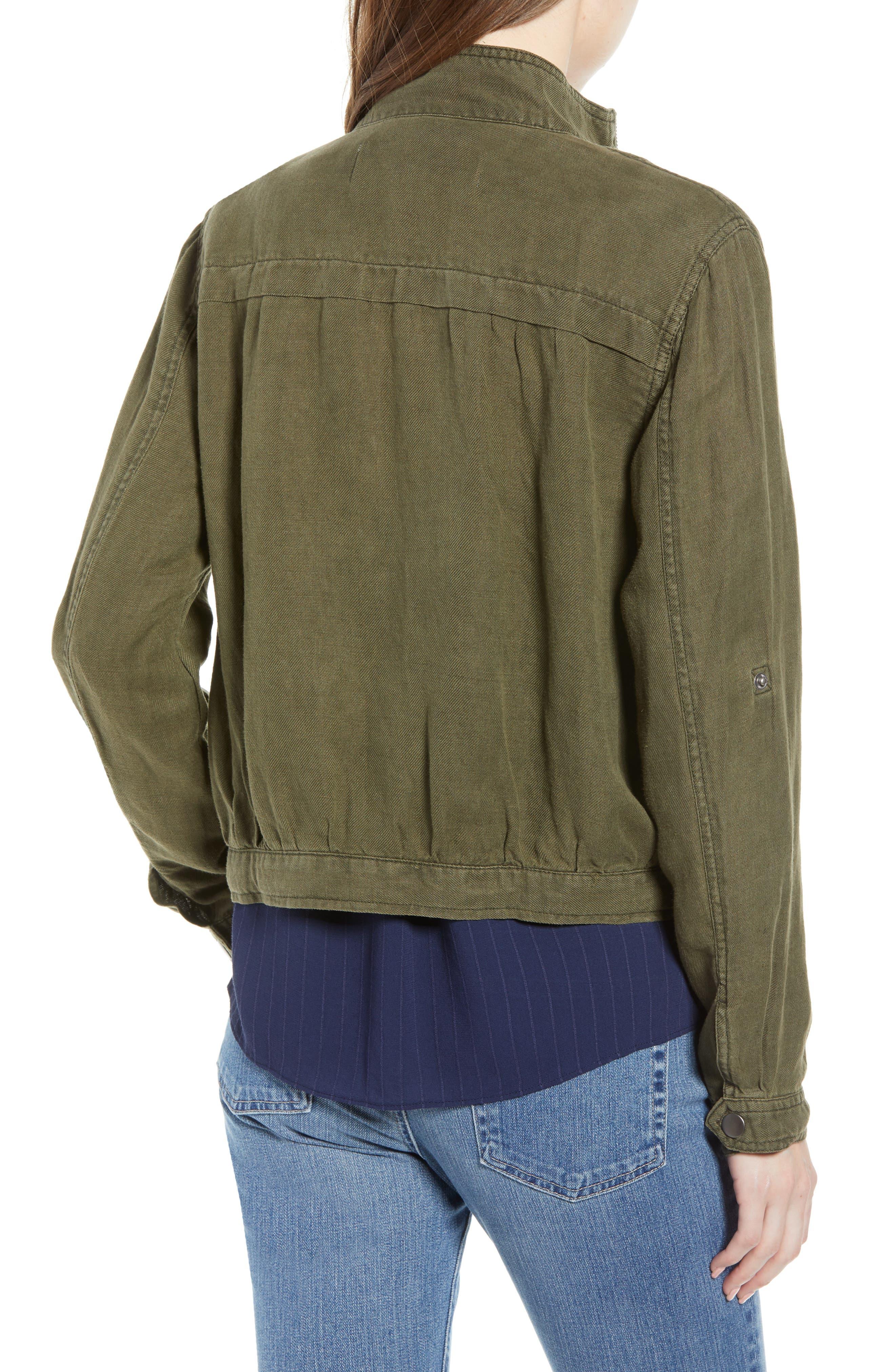Linen Blend Field Jacket,                             Alternate thumbnail 2, color,                             OLIVE SARMA