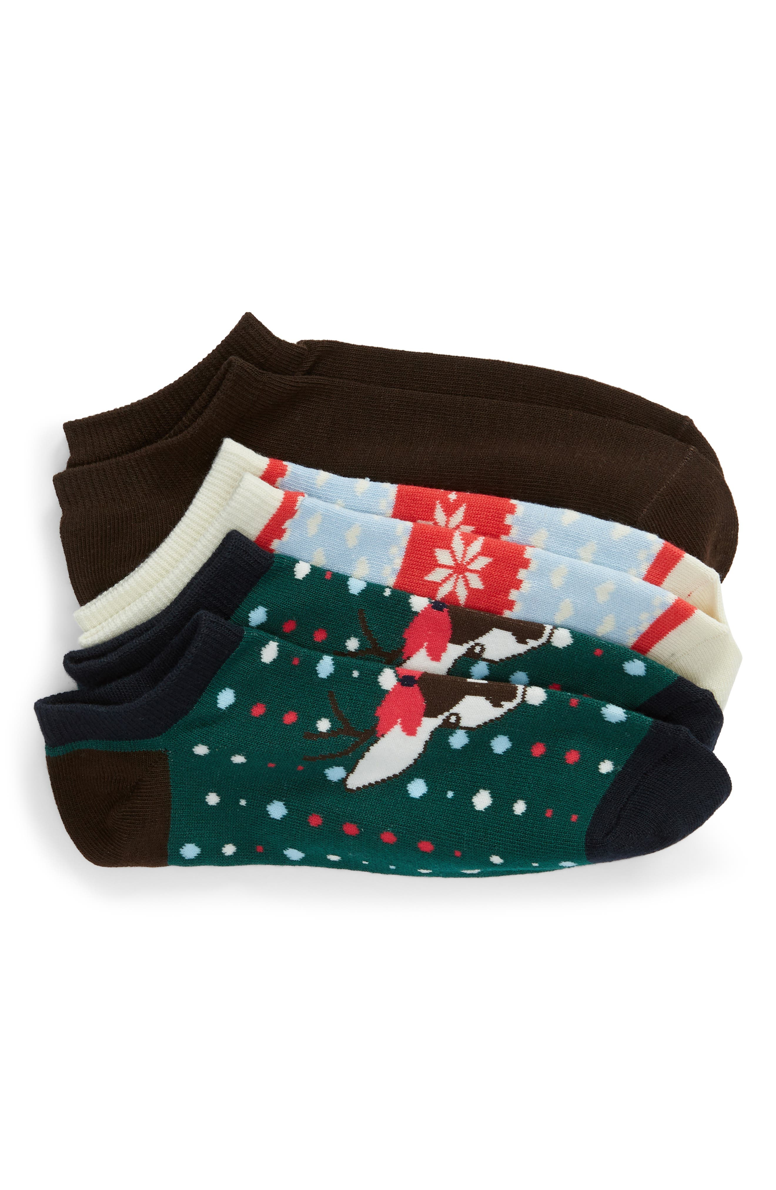 3-Pack Ankle Socks,                             Main thumbnail 1, color,                             BROWN JAVA MULTI