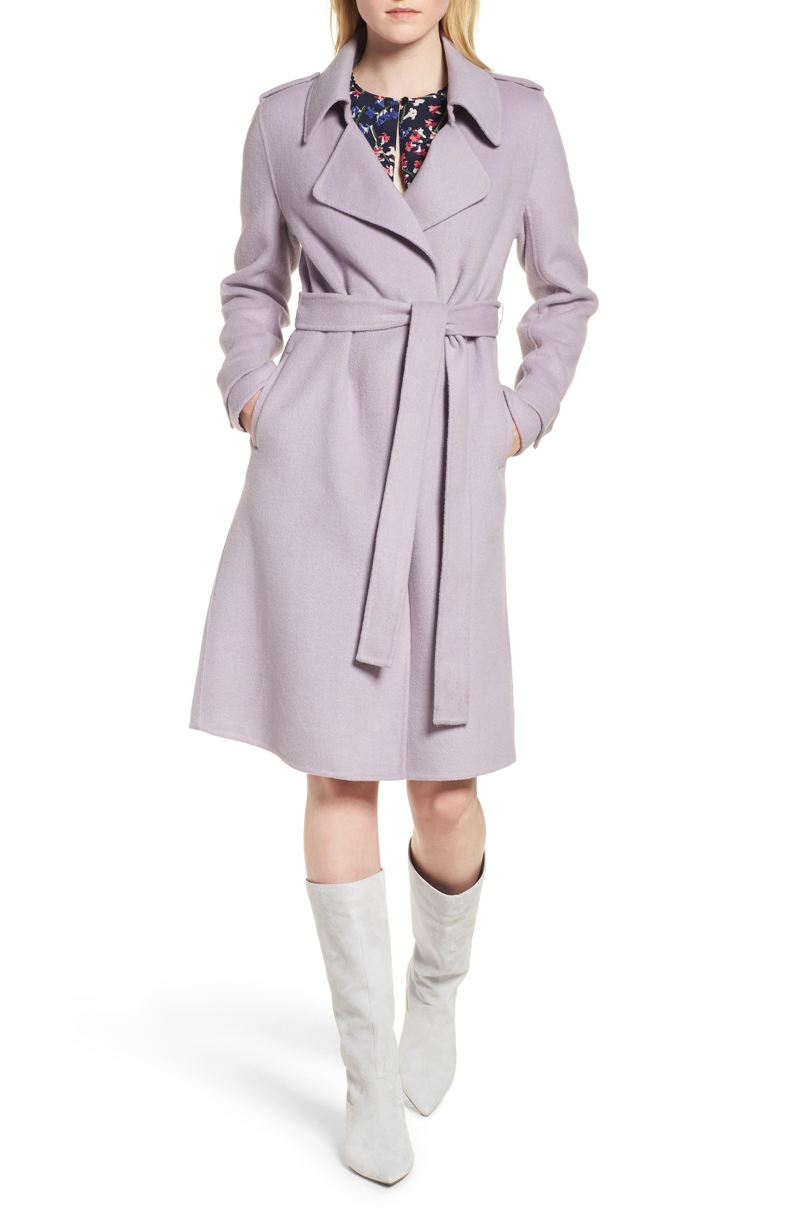 Double Face Wool Blend Wrap Front Coat,                         Main,                         color, LAVENDER