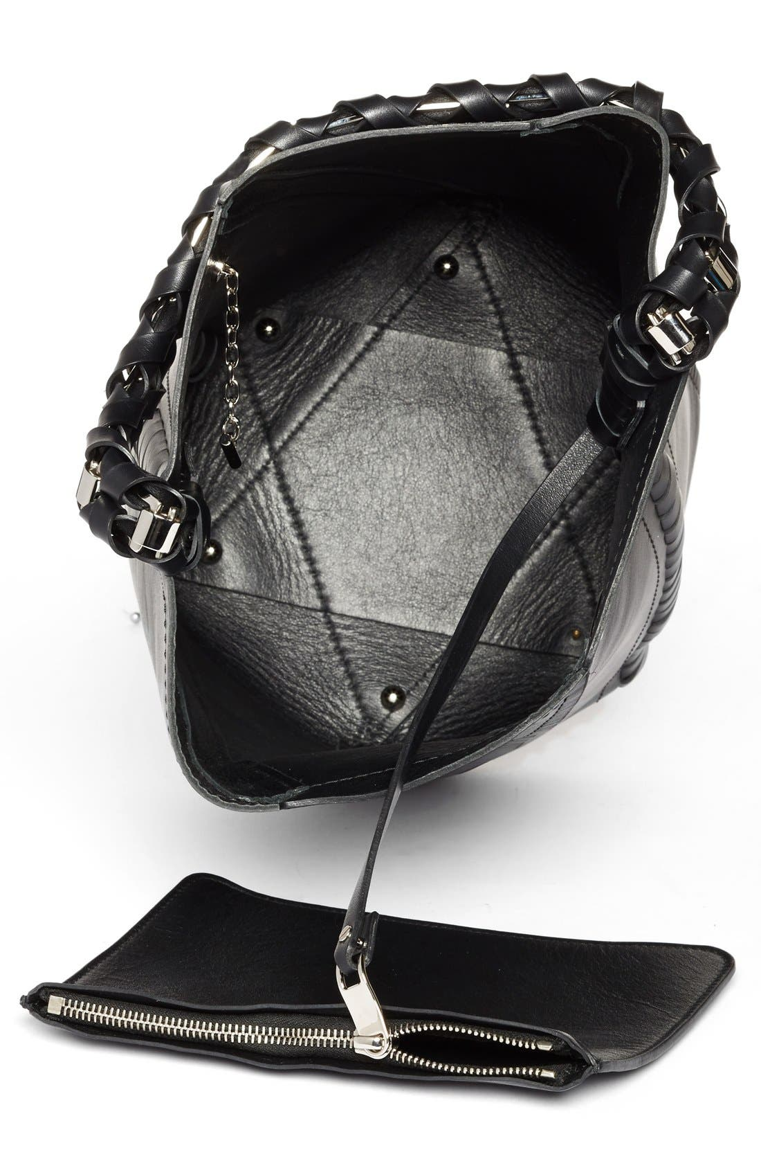 'Medium Hex' Whipstitch Leather Bucket Bag,                             Alternate thumbnail 4, color,                             001
