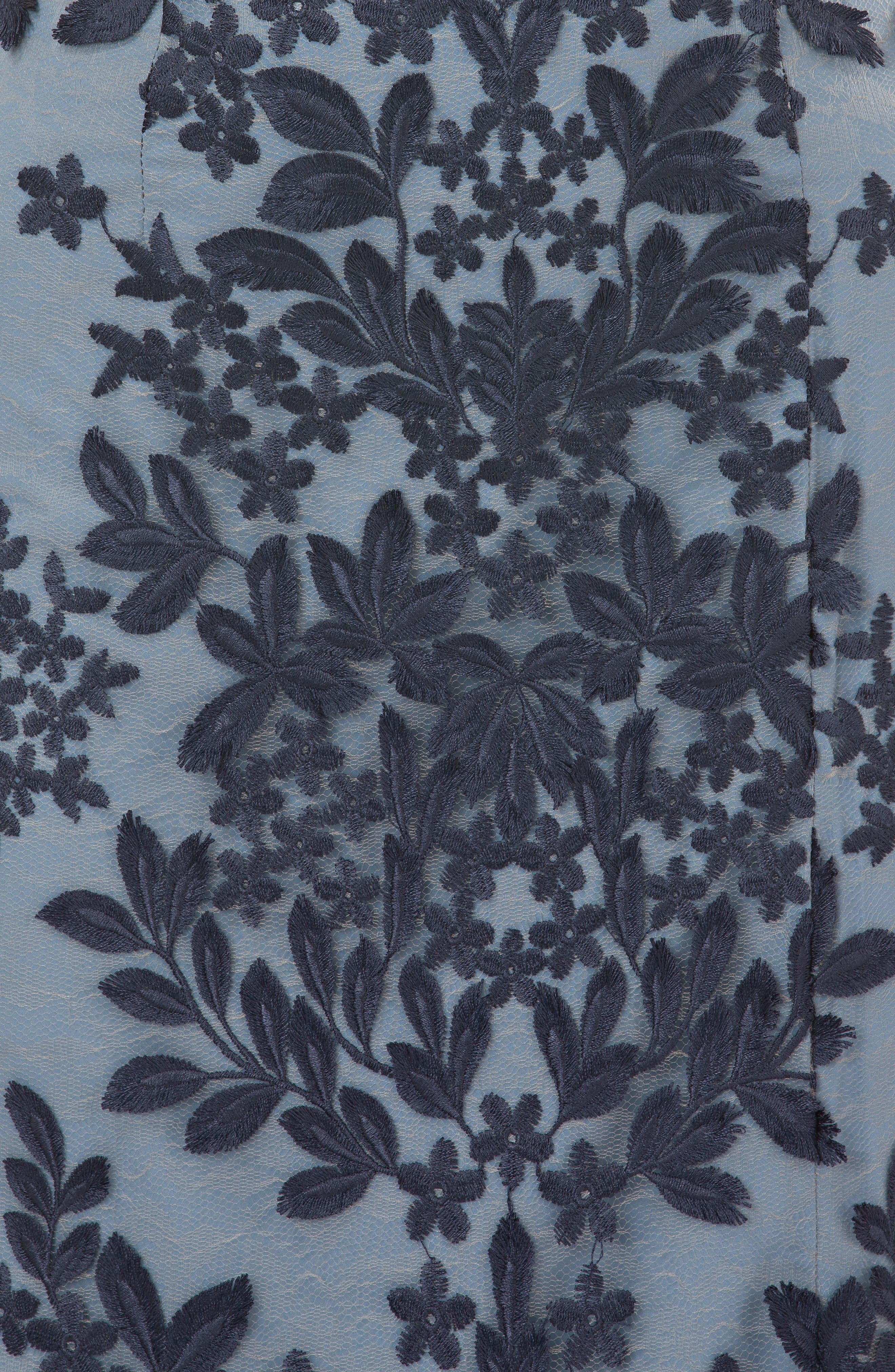 Leaf Embroidered Gown,                             Alternate thumbnail 4, color,                             NAVY