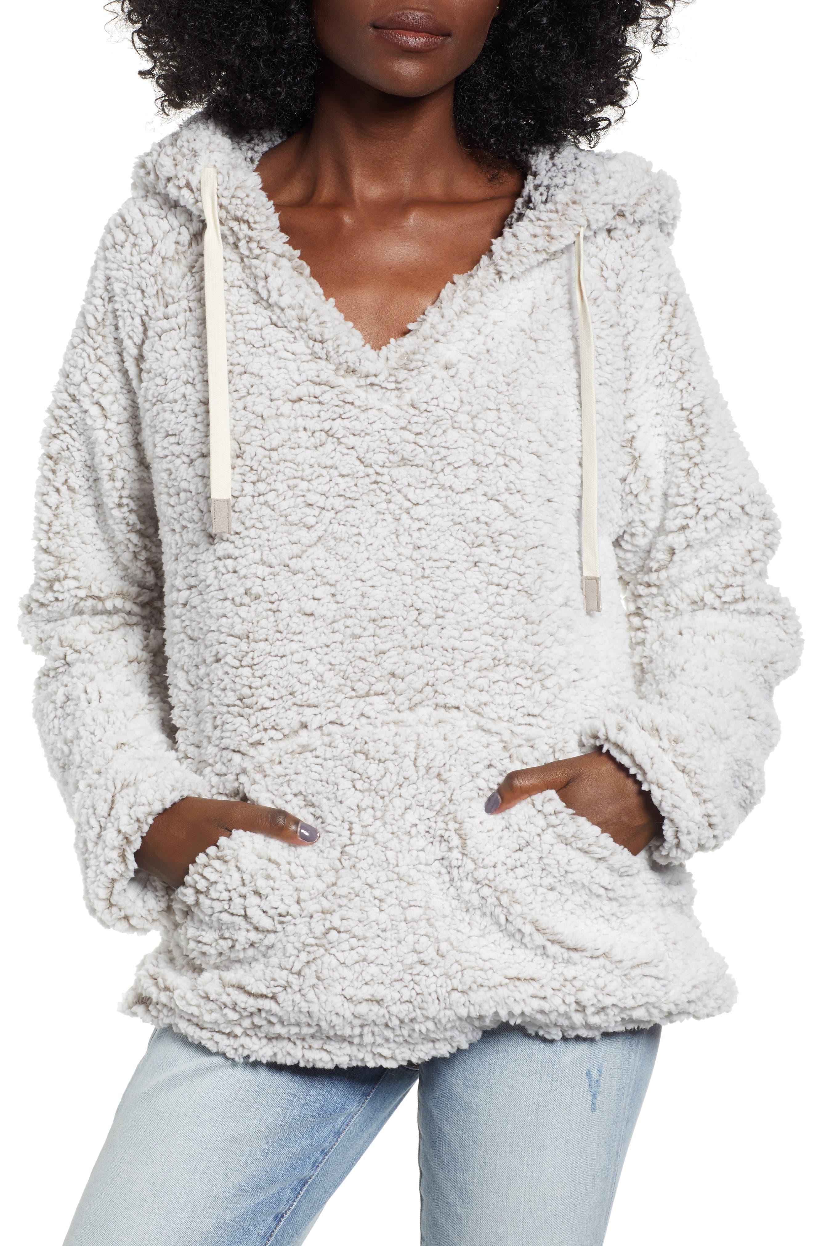 Cozy Fleece Hoodie,                         Main,                         color, IVORY