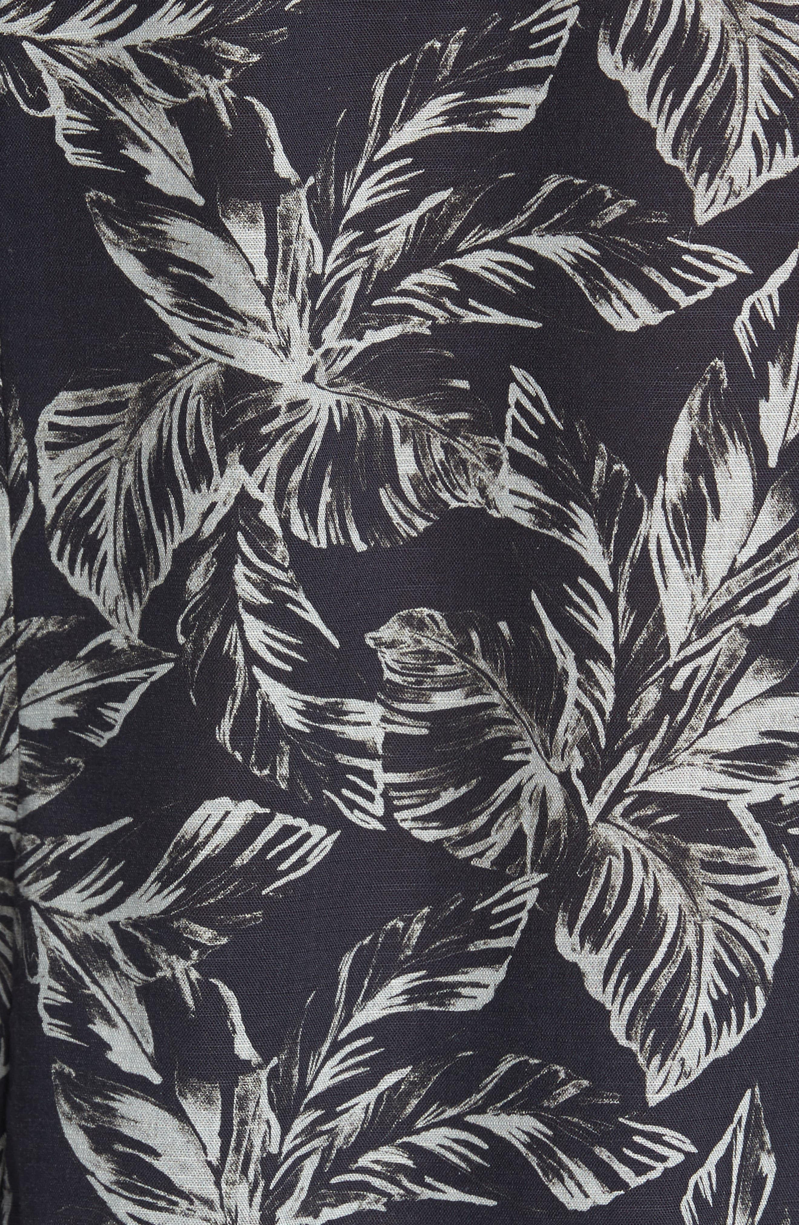 Rinnie Trim Fit Leaf Print Sport Shirt,                             Alternate thumbnail 5, color,                             NAVY