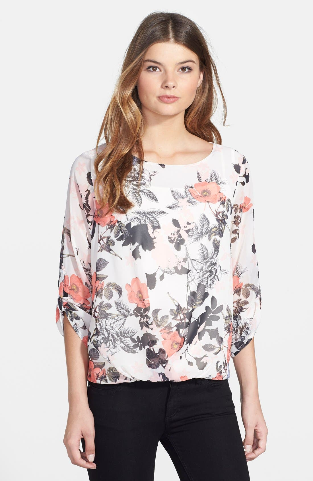 Poppy Print Blouse,                             Main thumbnail 1, color,                             905