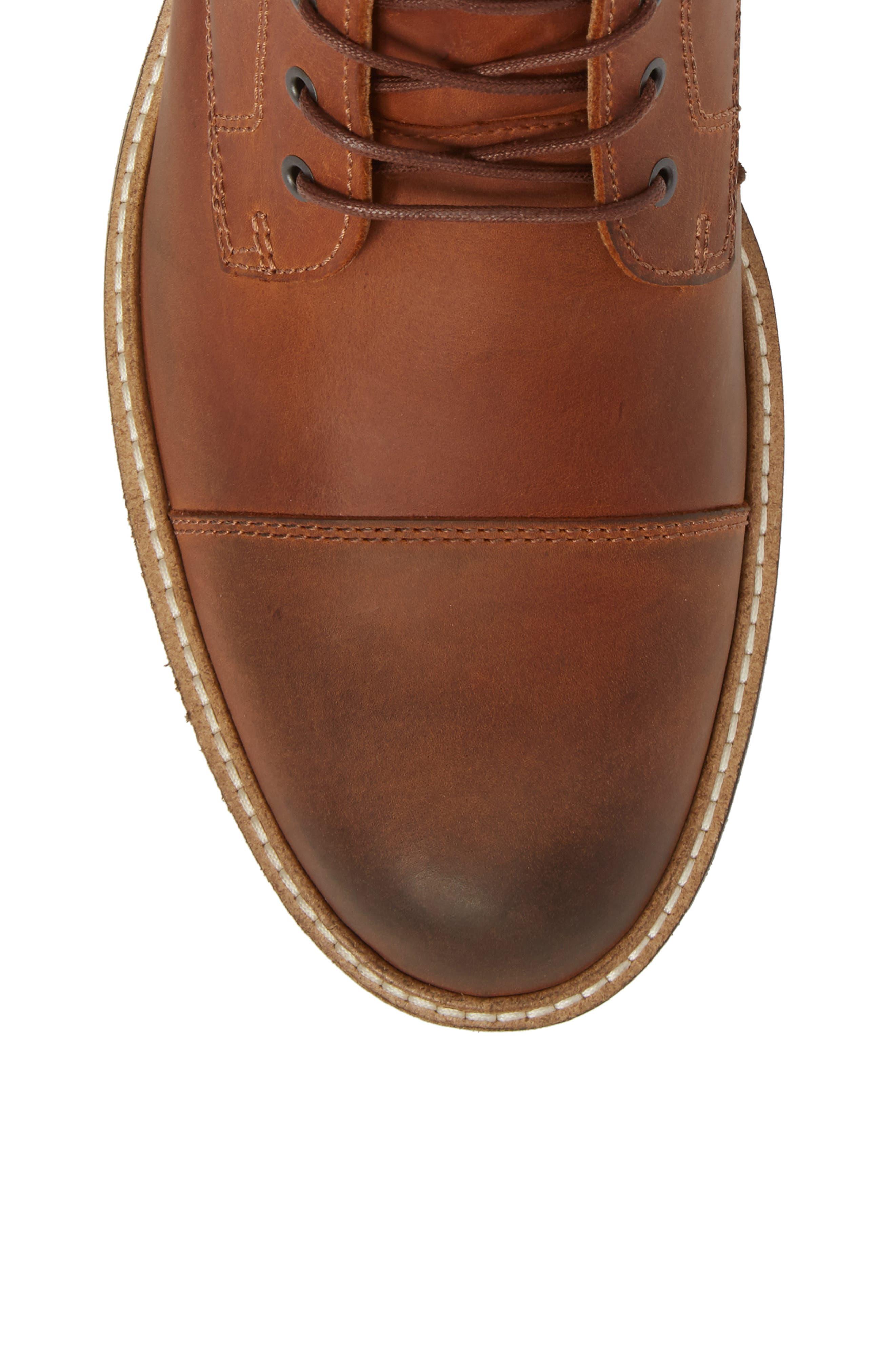 Kenton Vintage Cap Toe Boot,                             Alternate thumbnail 5, color,                             COGNAC LEATHER