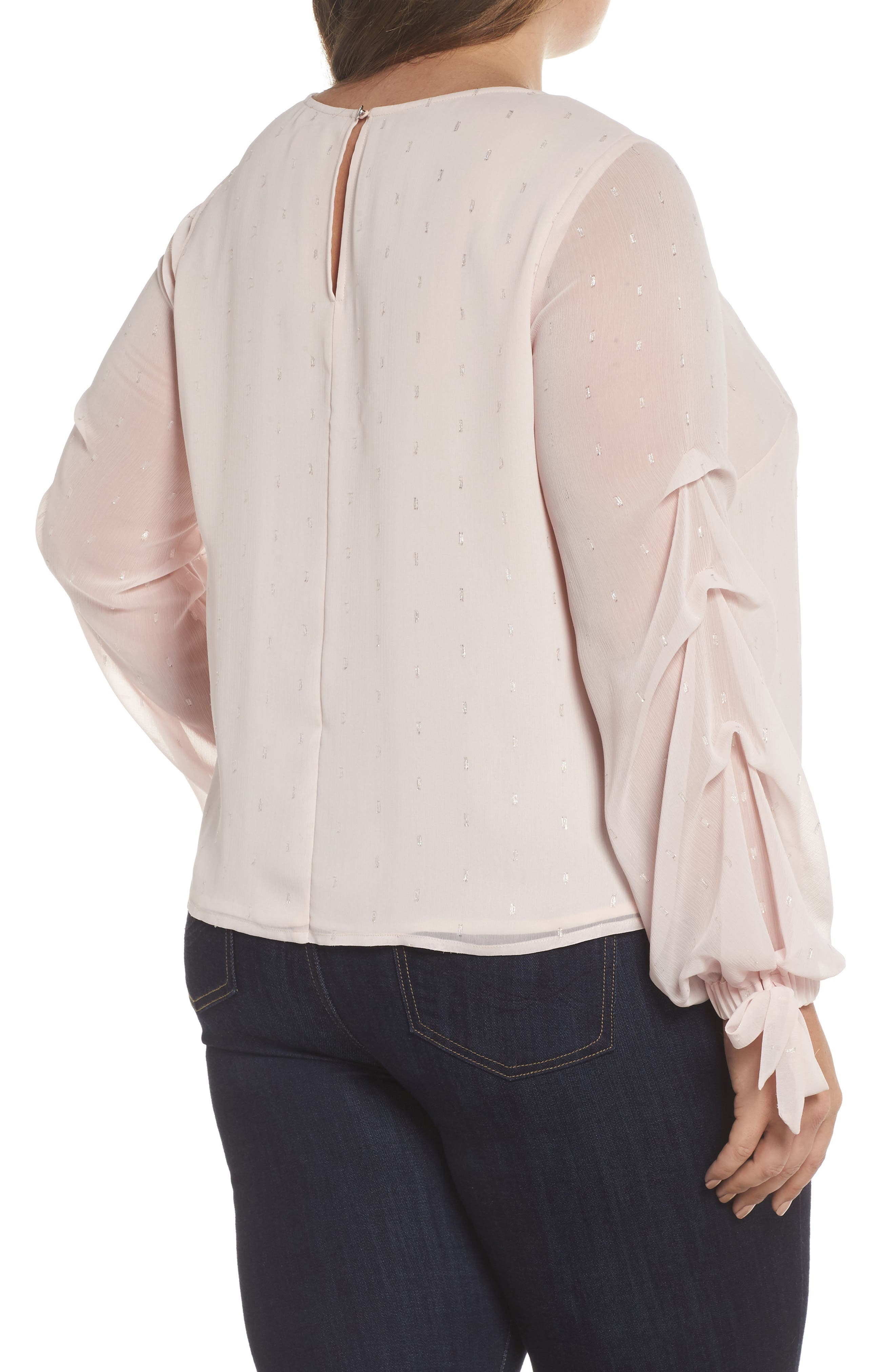 Tiered Tie Cuff Chiffon Blouse,                             Alternate thumbnail 2, color,                             PINK MIST