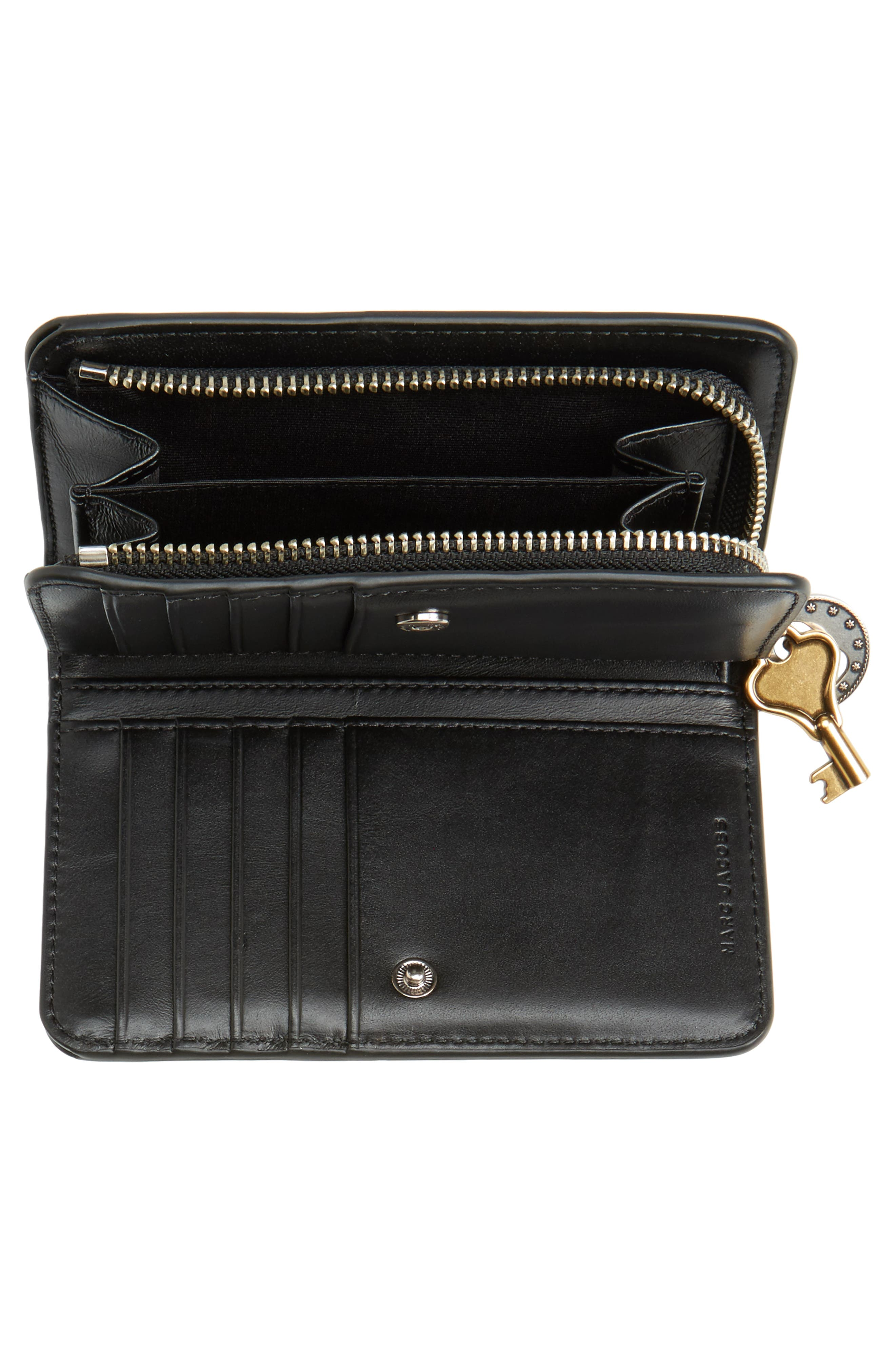 Saffiano Leather Compact Wallet,                             Alternate thumbnail 4, color,