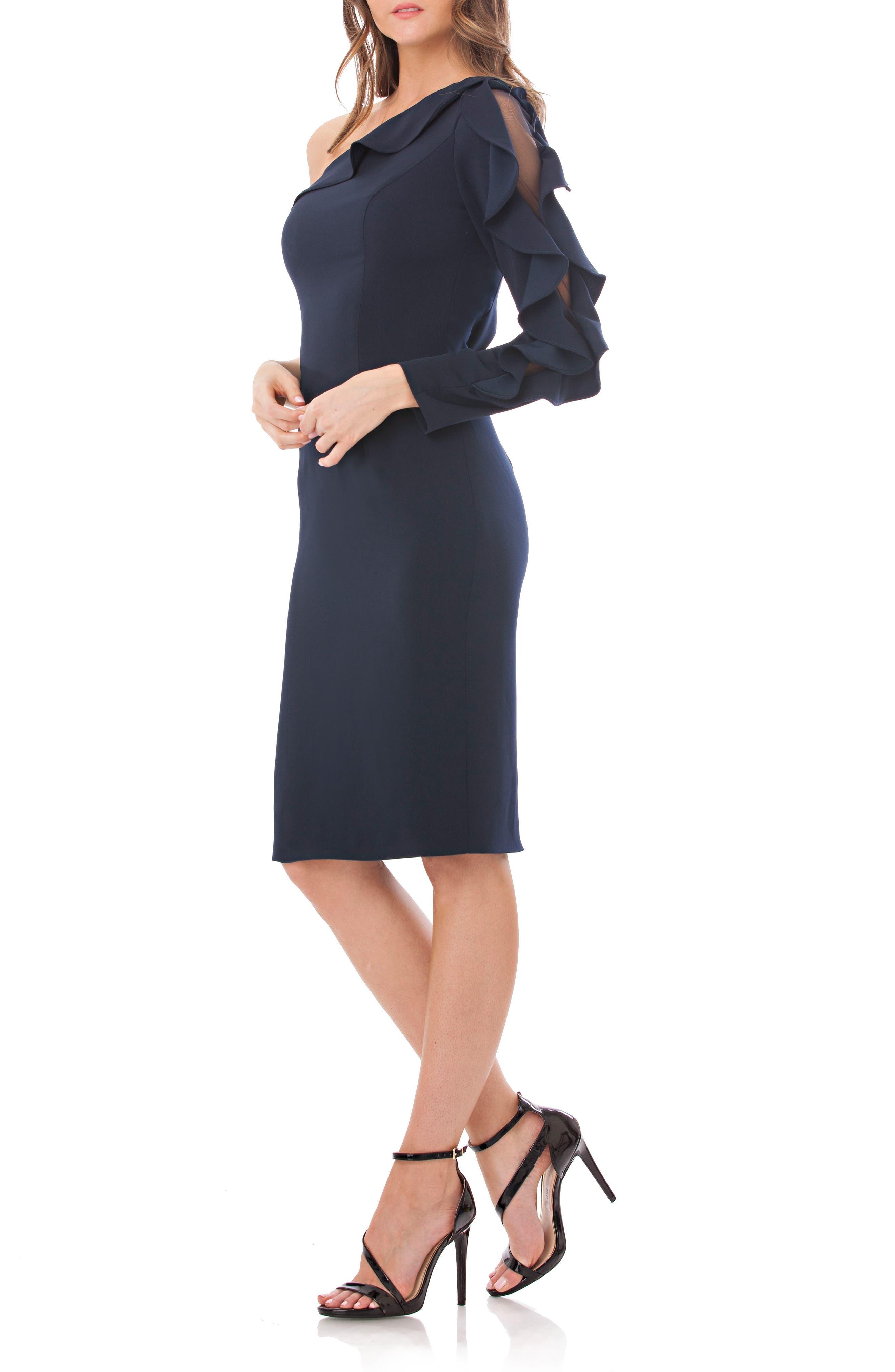 One-Shoulder Sheath Dress,                             Alternate thumbnail 3, color,                             400