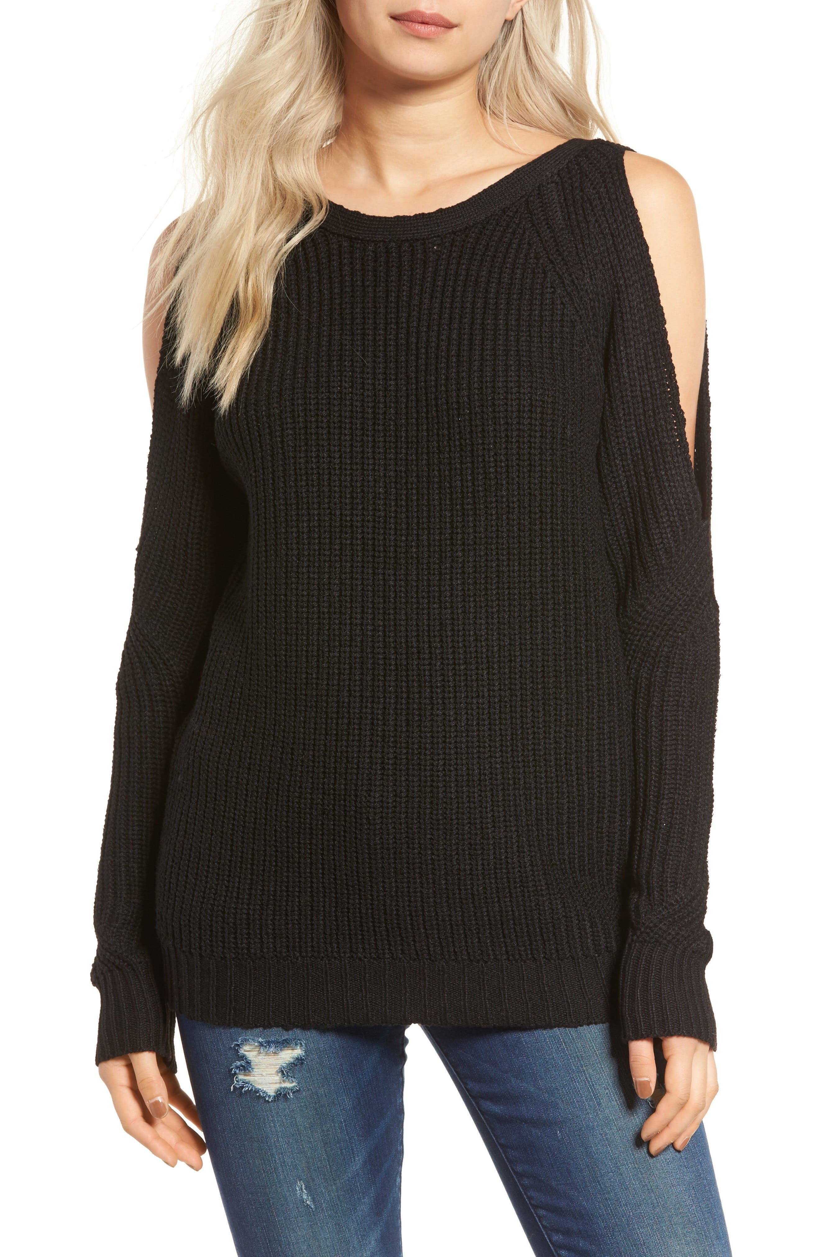 Cold Shoulder Sweater,                             Main thumbnail 1, color,                             001