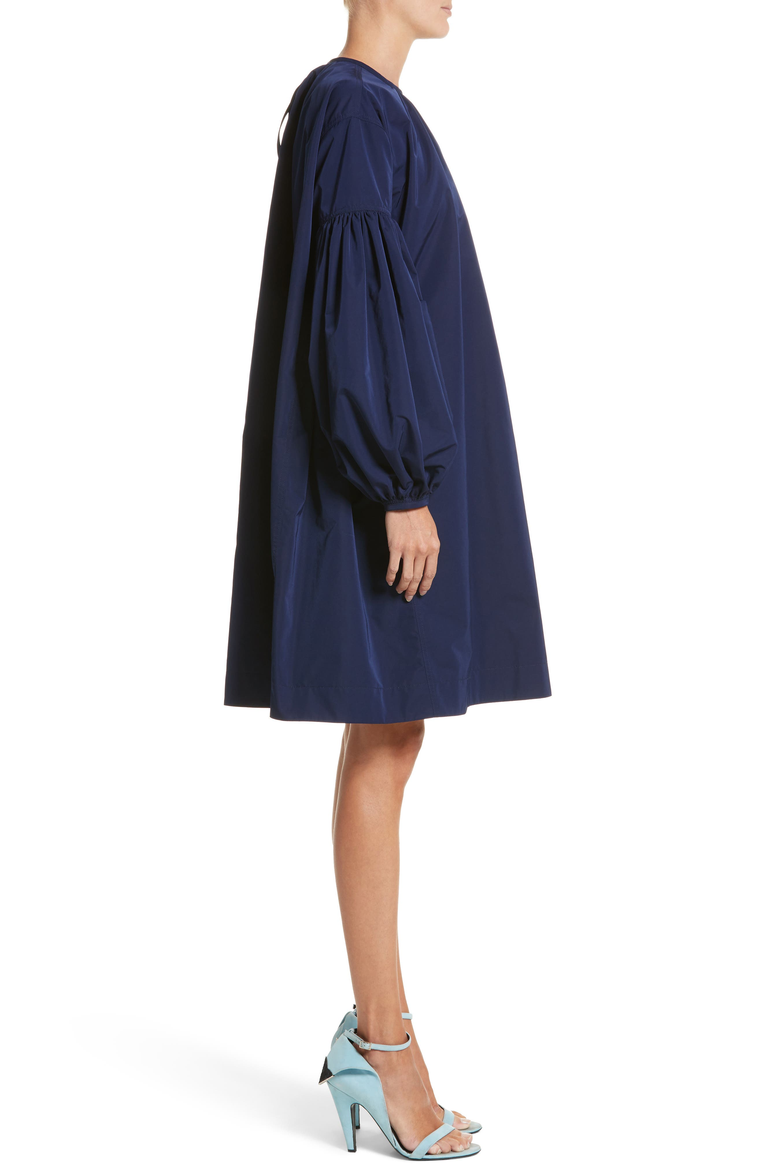 Ruched Sleeve Taffeta Dress,                             Alternate thumbnail 3, color,                             404
