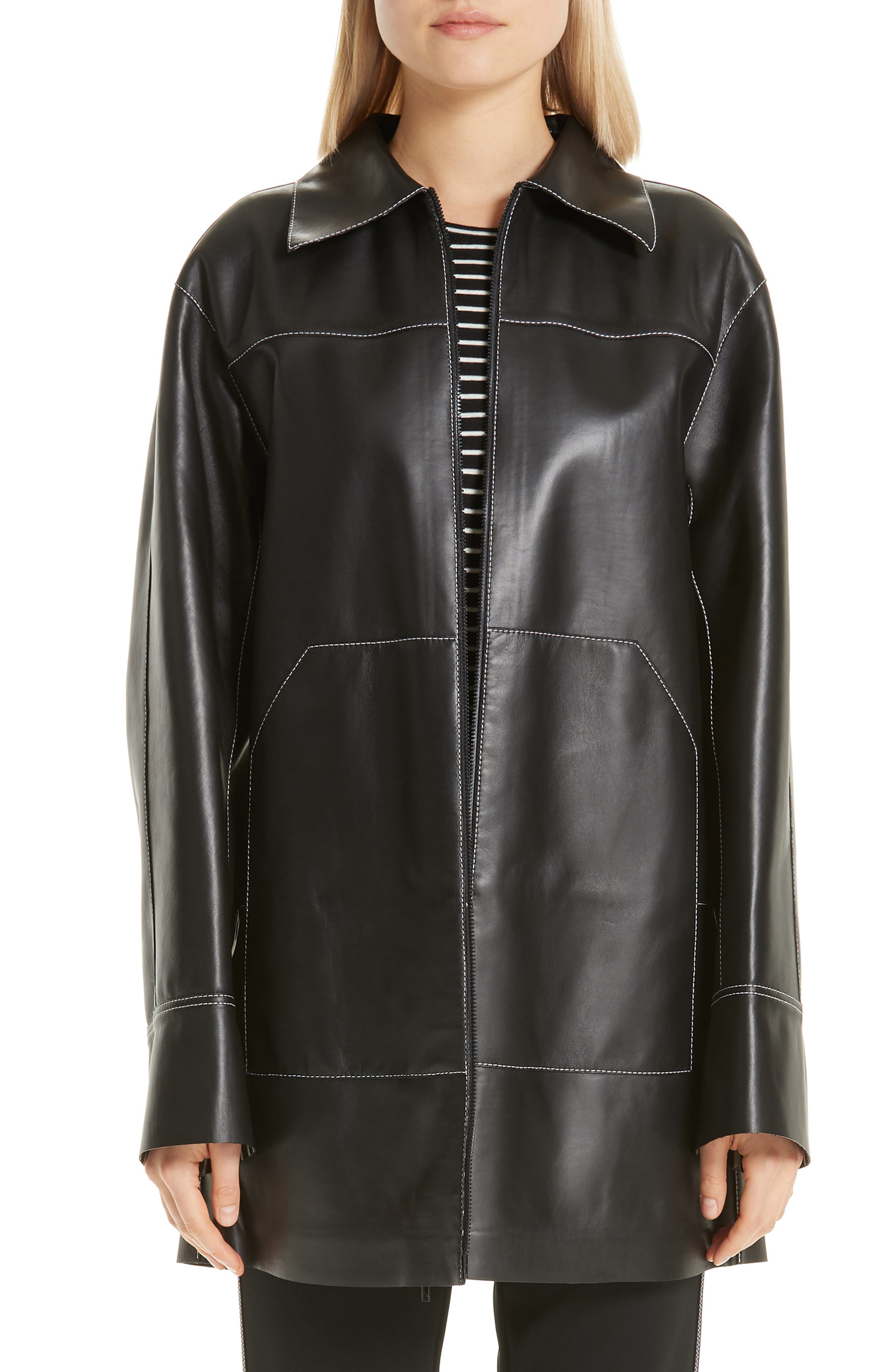 Christopher Leather Jacket, Main, color, BLACK