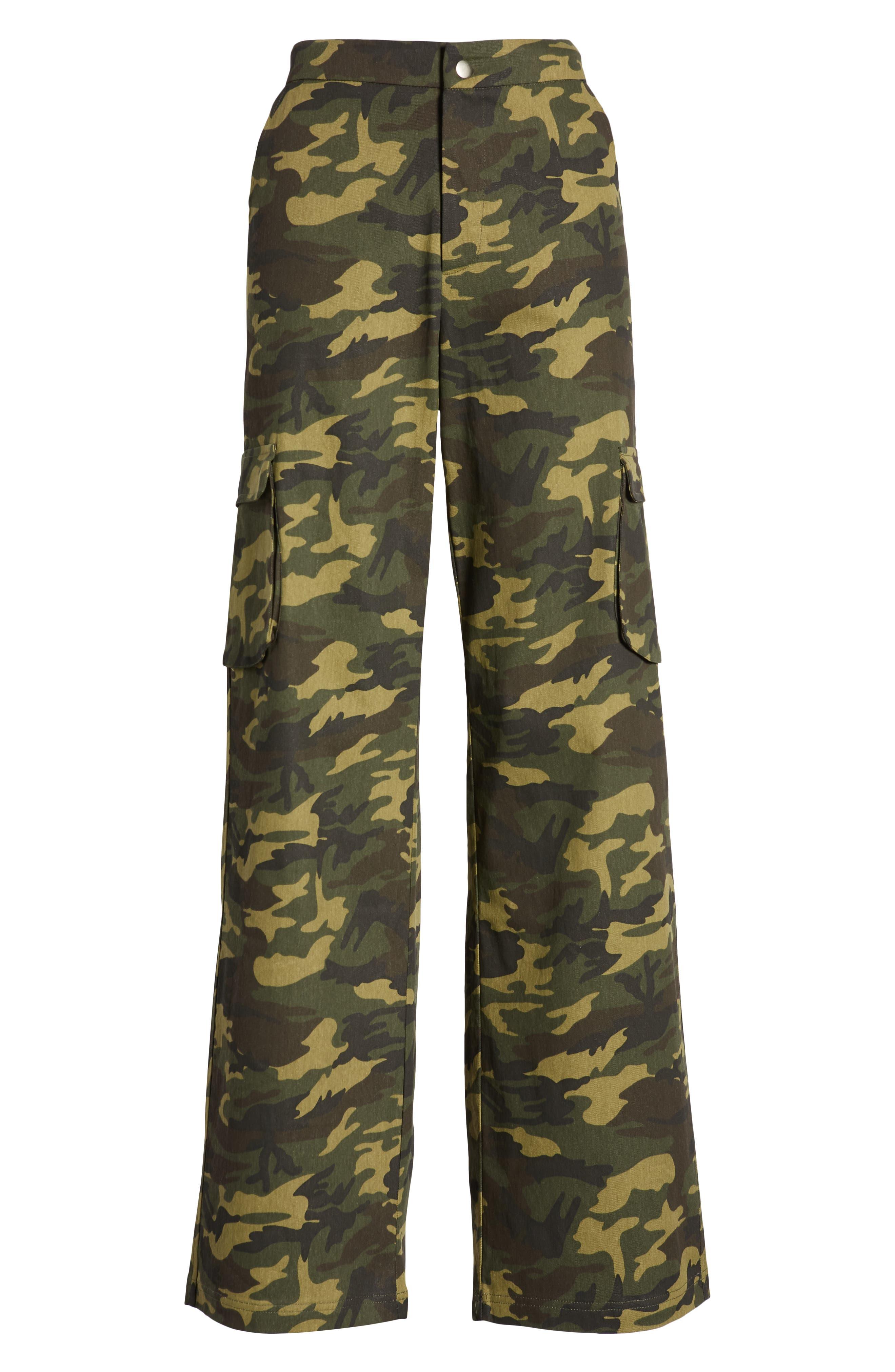Keegan High Waist Straight Leg Pants,                             Alternate thumbnail 7, color,                             GREEN CAMO