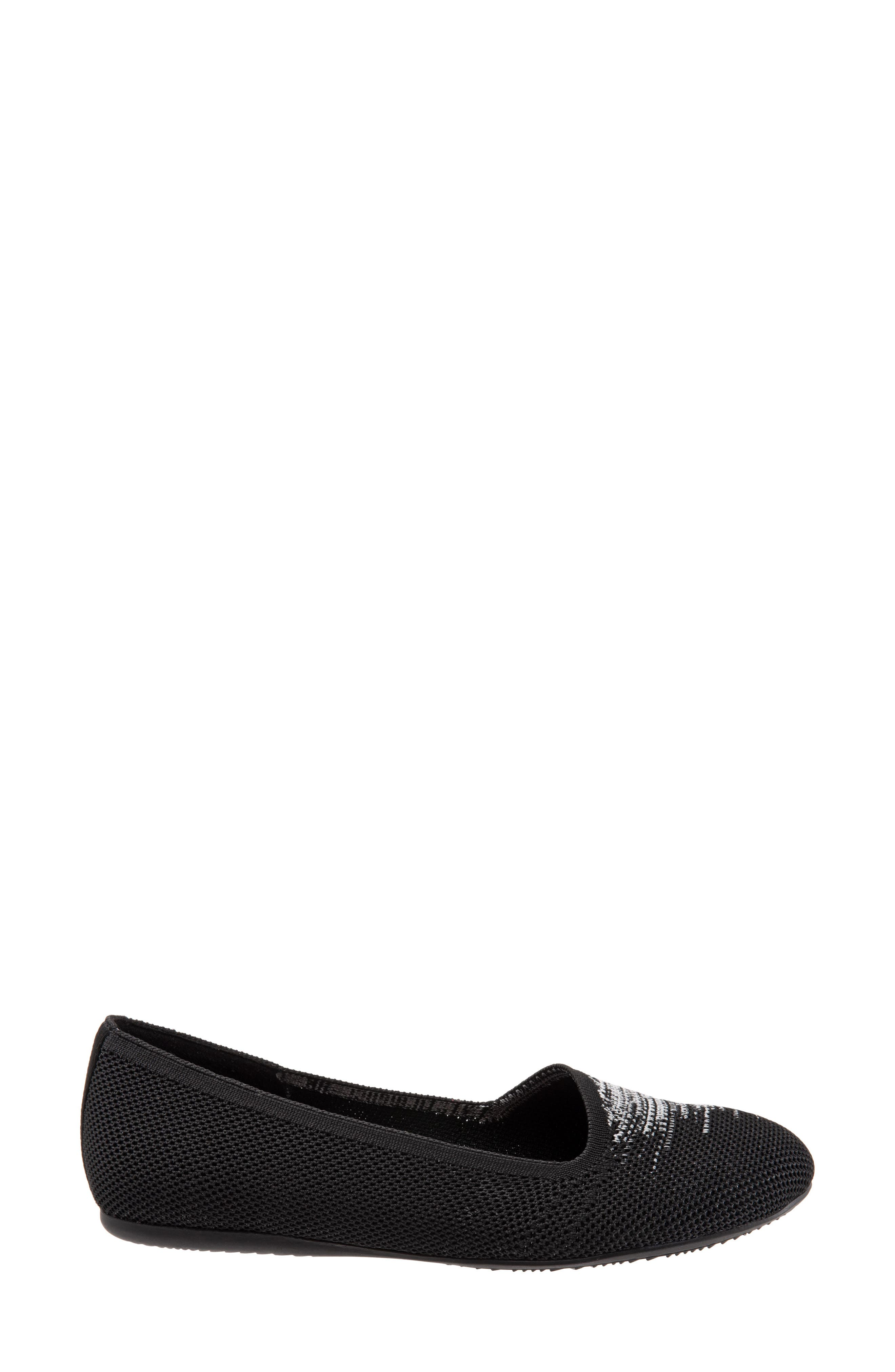 Sicily Knit Flat,                             Alternate thumbnail 3, color,                             BLACK KNIT FABRIC