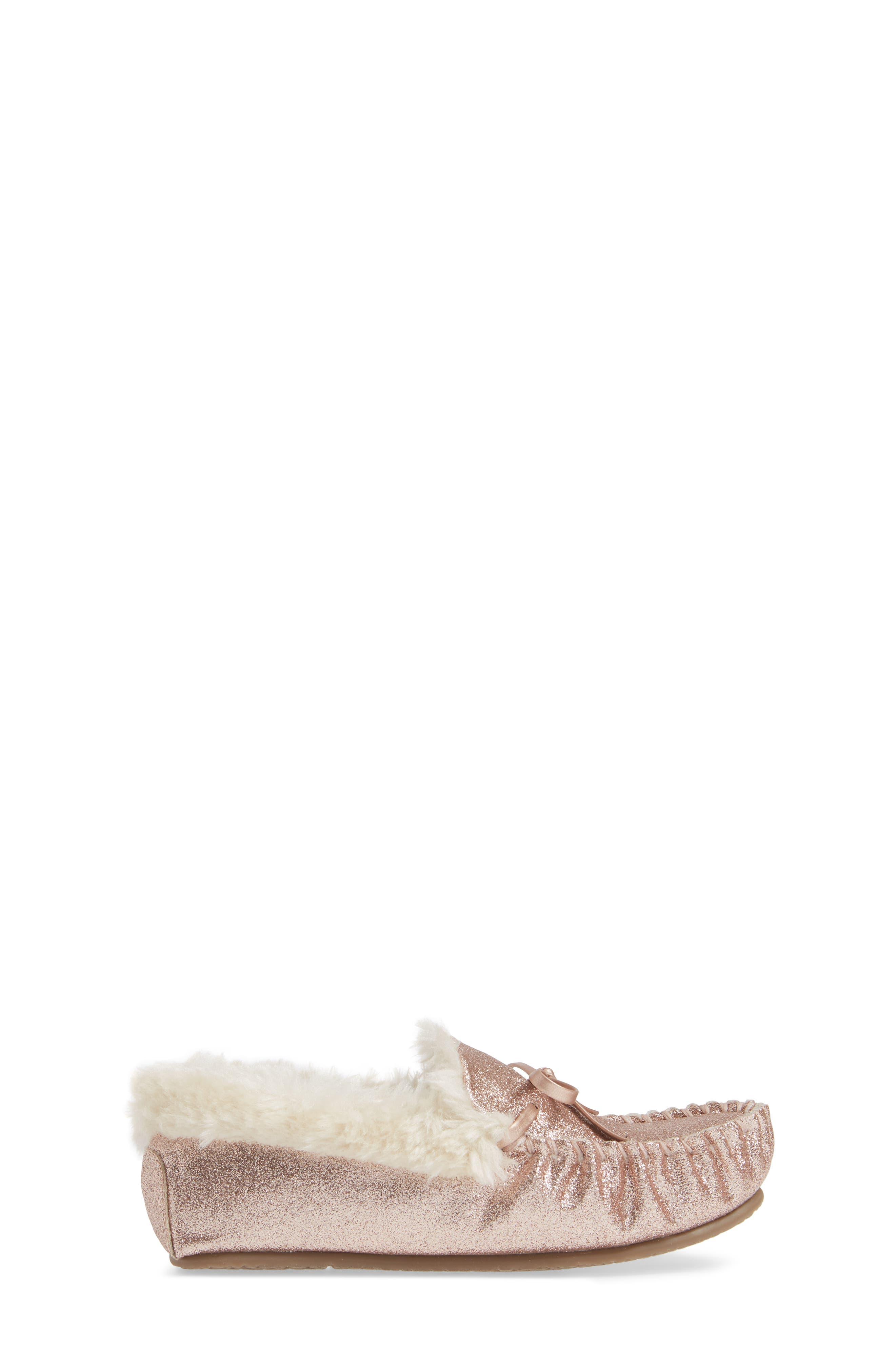 Mila Faux Fur Moccasin Slipper,                             Alternate thumbnail 3, color,                             710