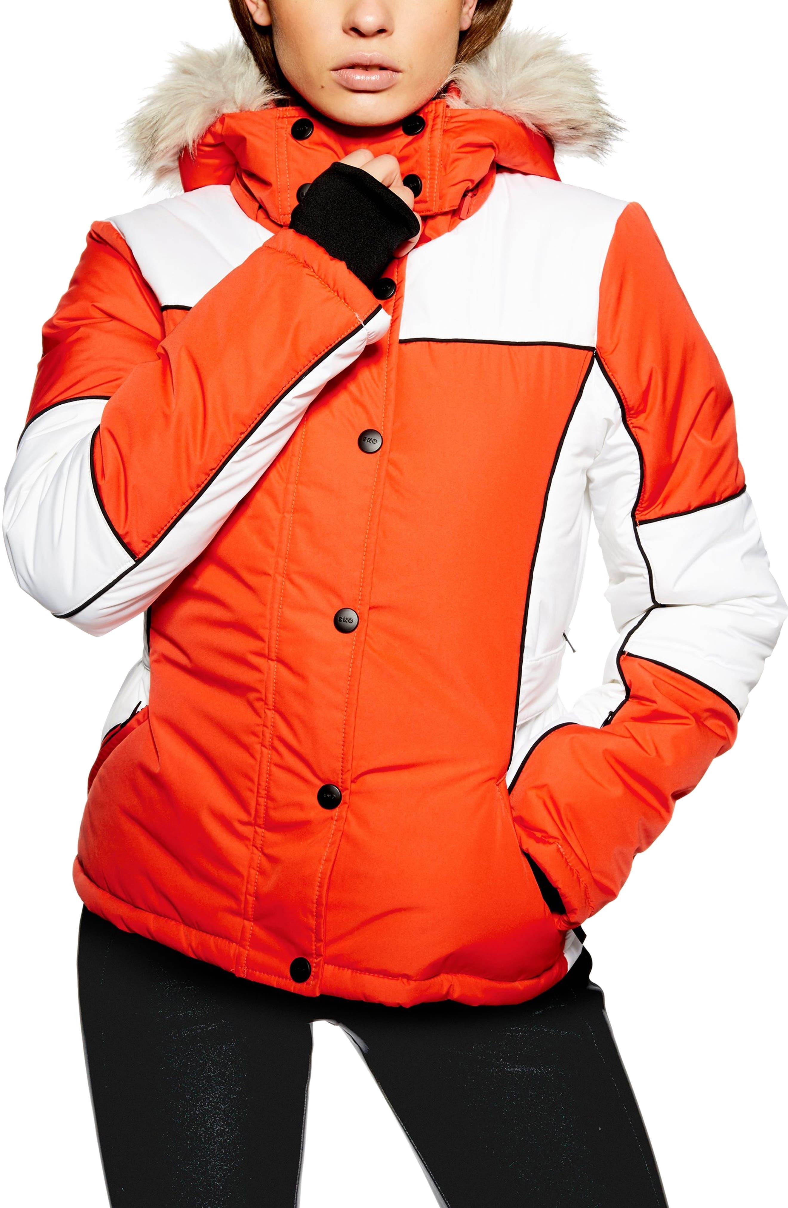 Sno Faux Fur Trim Puffer Jacket,                             Main thumbnail 1, color,                             ORANGE MULTI