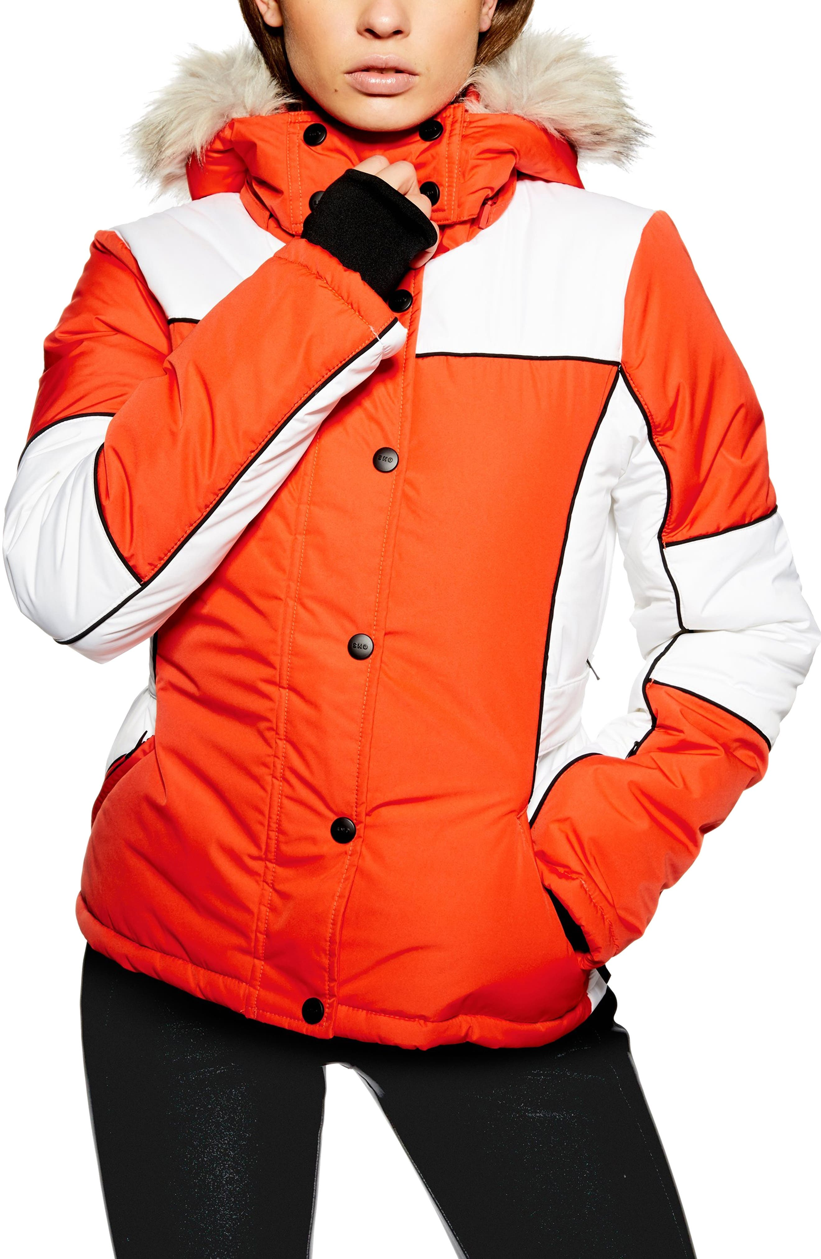 Sno Faux Fur Trim Puffer Jacket, Main, color, ORANGE MULTI