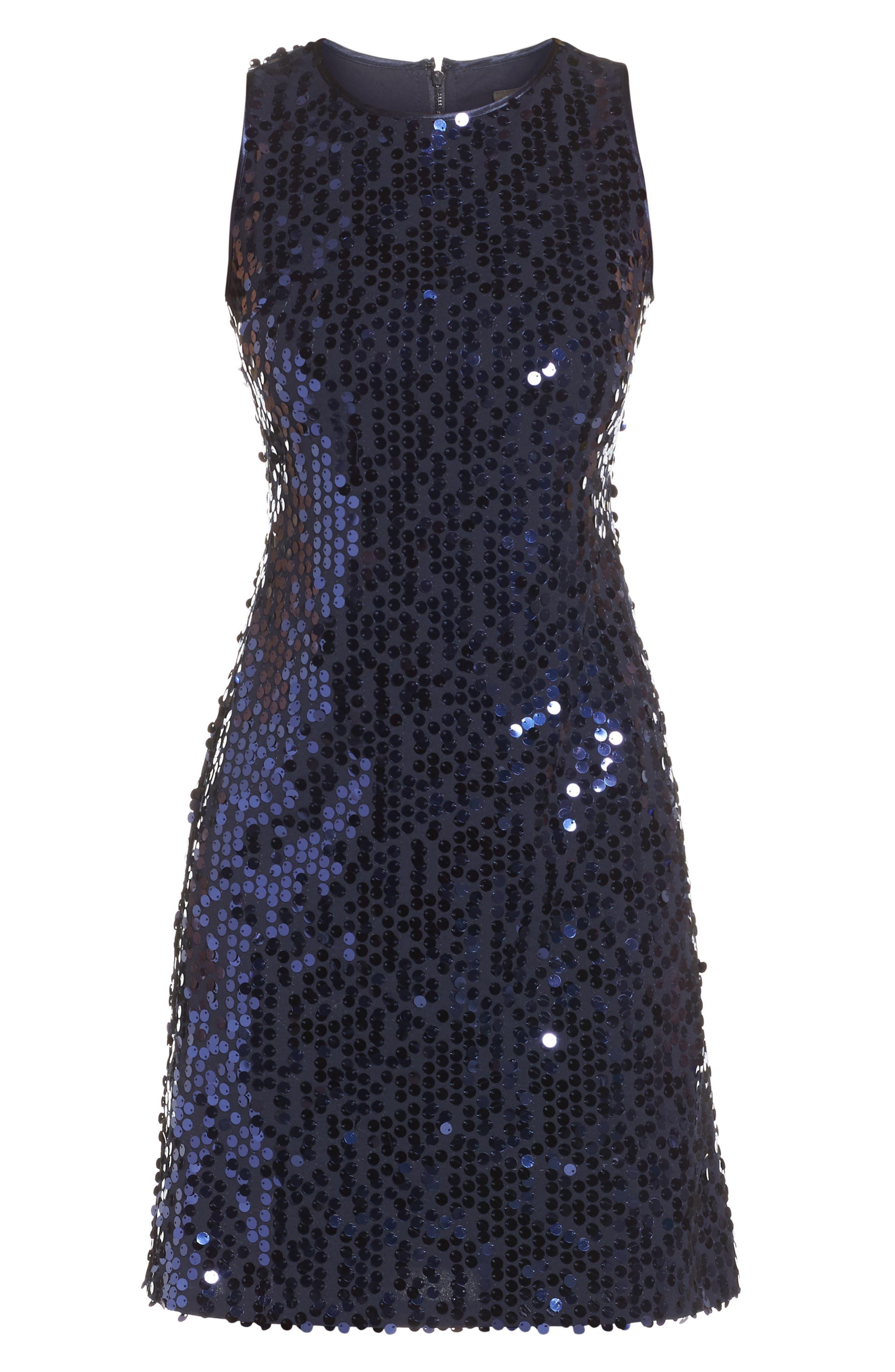 Sequin A-Line Dress,                             Alternate thumbnail 12, color,