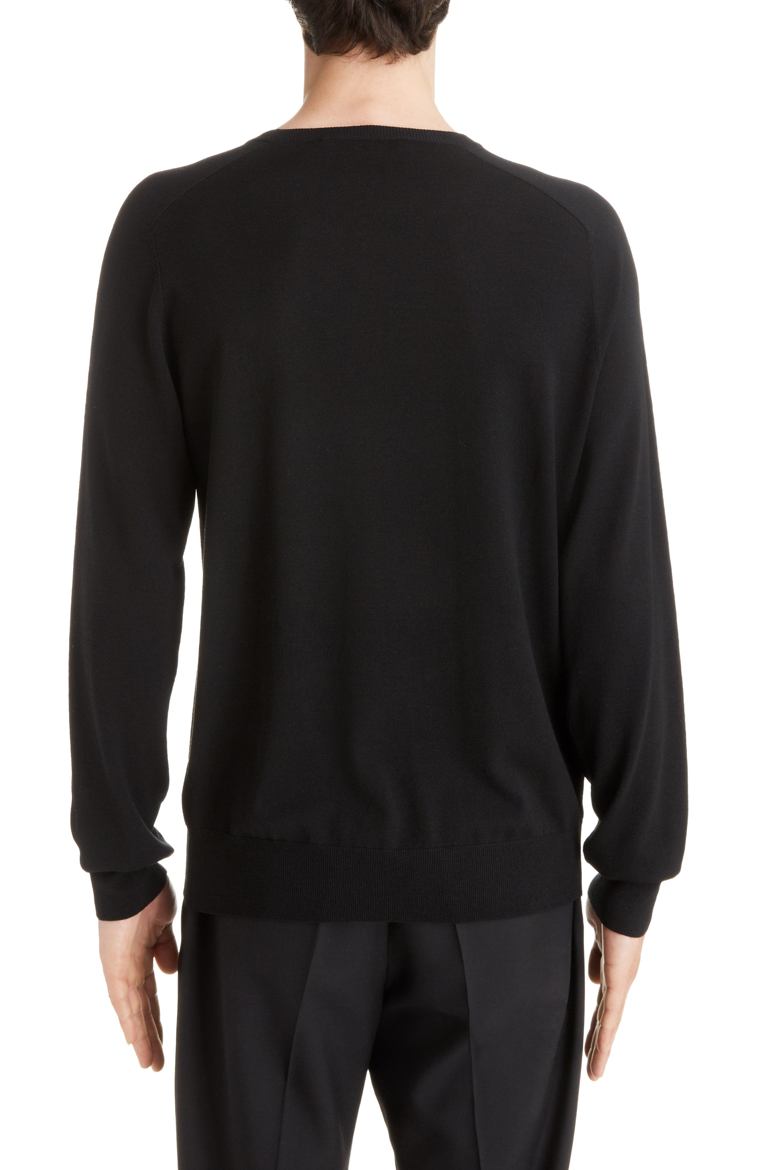4G Wool Crewneck Sweater,                             Alternate thumbnail 2, color,                             BLACK