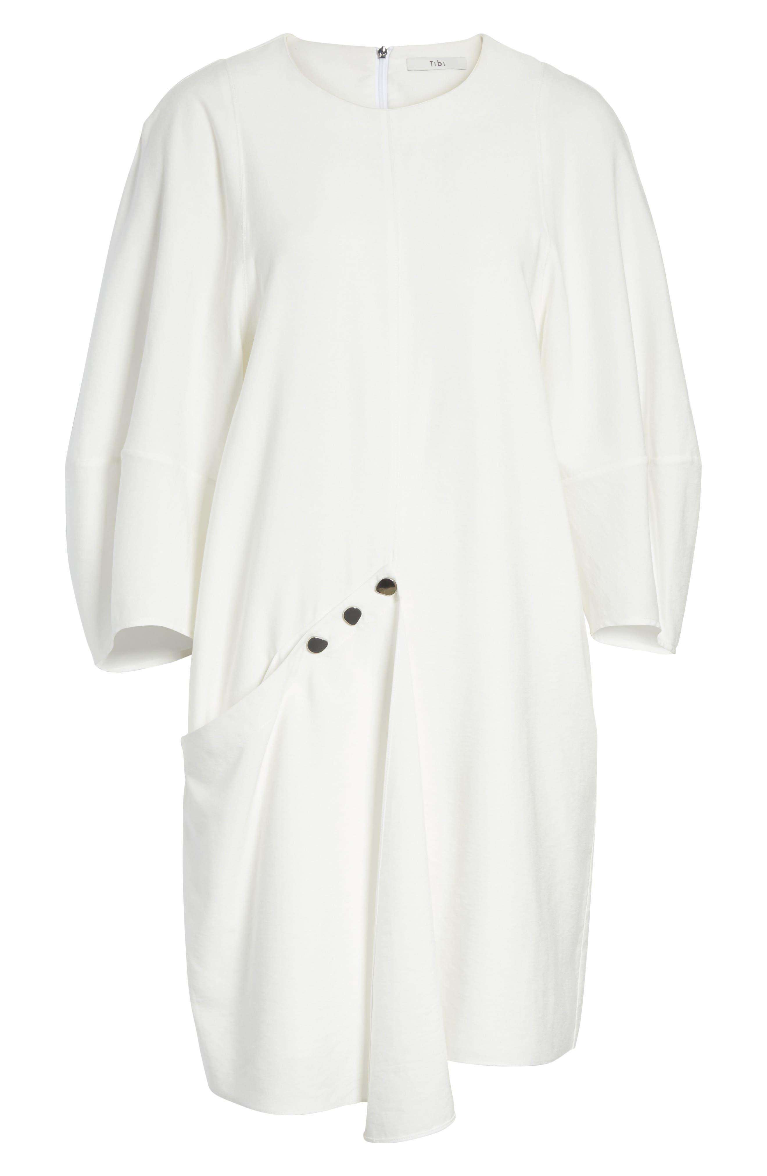 Asymmetrical Flap Front Dress,                             Alternate thumbnail 6, color,                             100