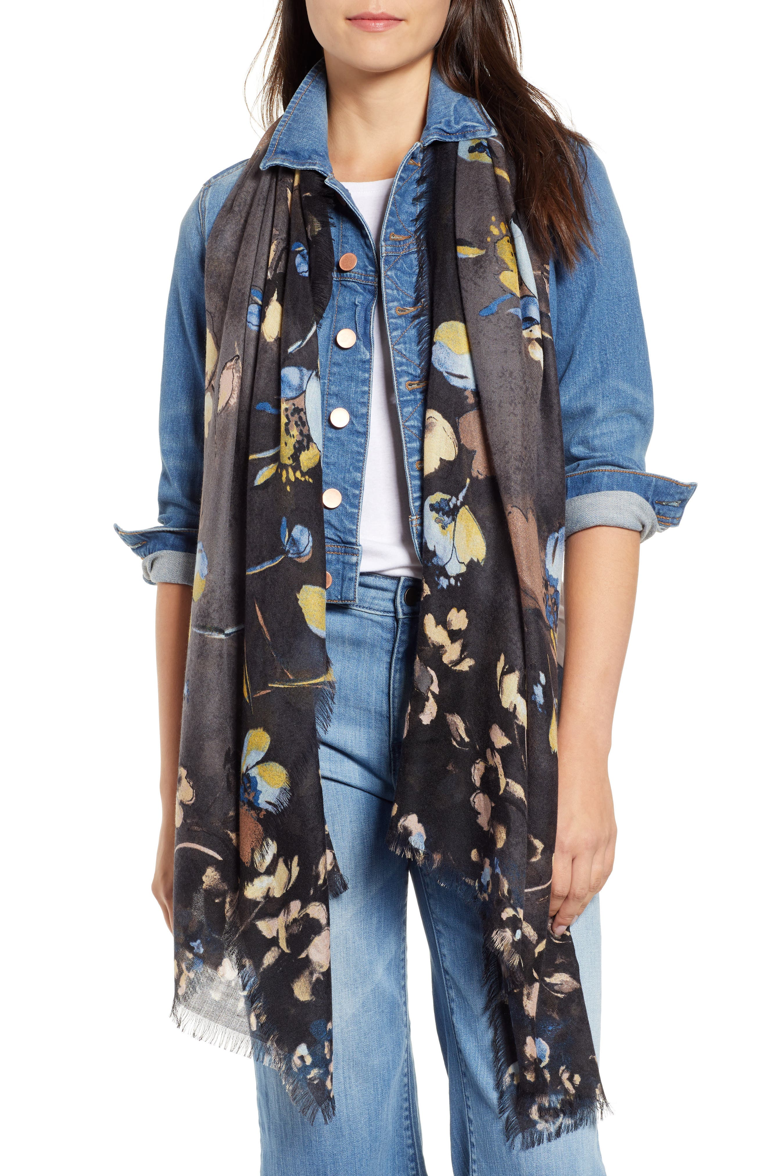 Eyelash Trim Print Cashmere & Silk Wrap,                         Main,                         color, BLACK VINE FLORAL