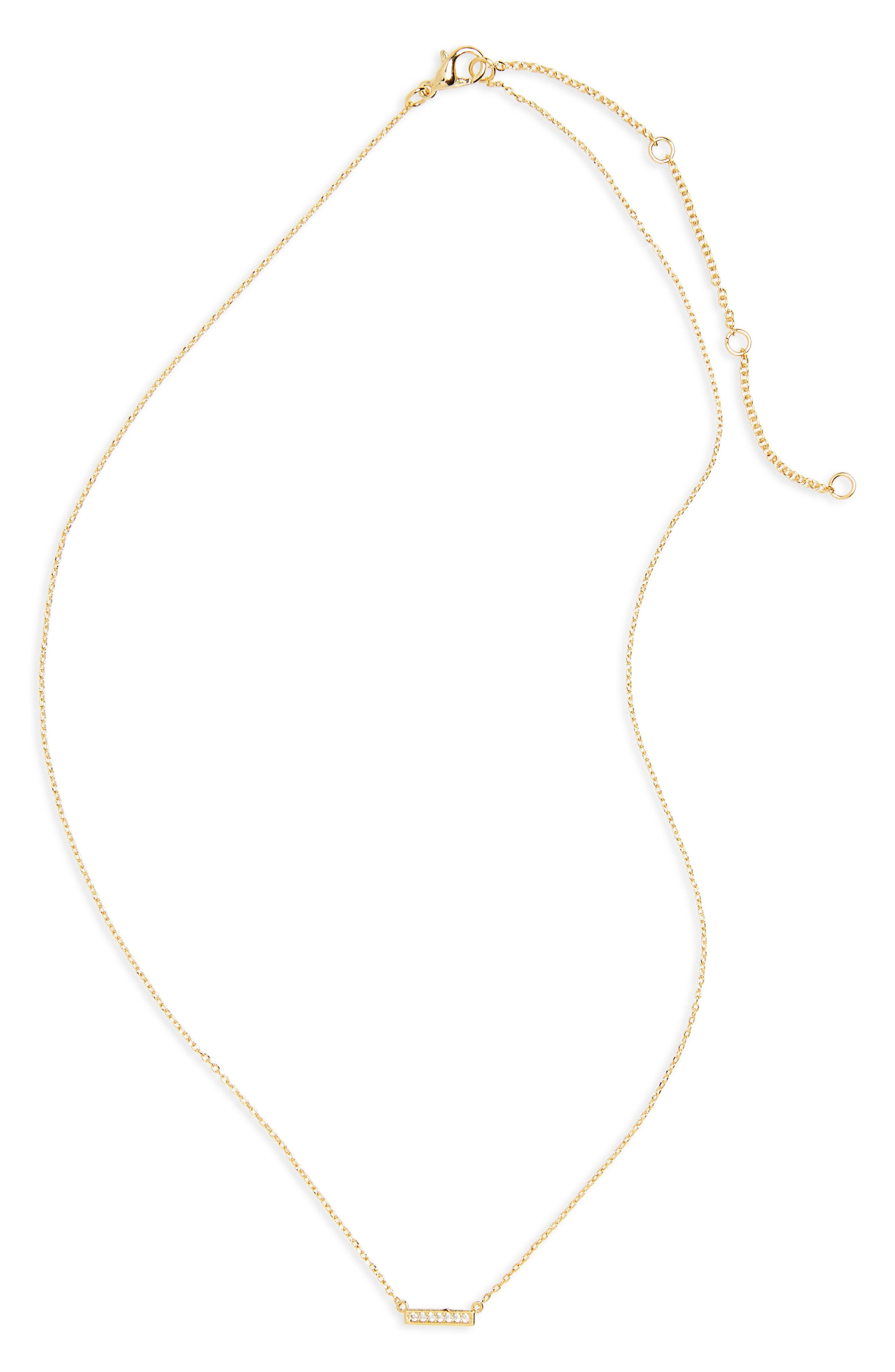 Pavé Crystal Bar Necklace,                         Main,                         color, GOLD