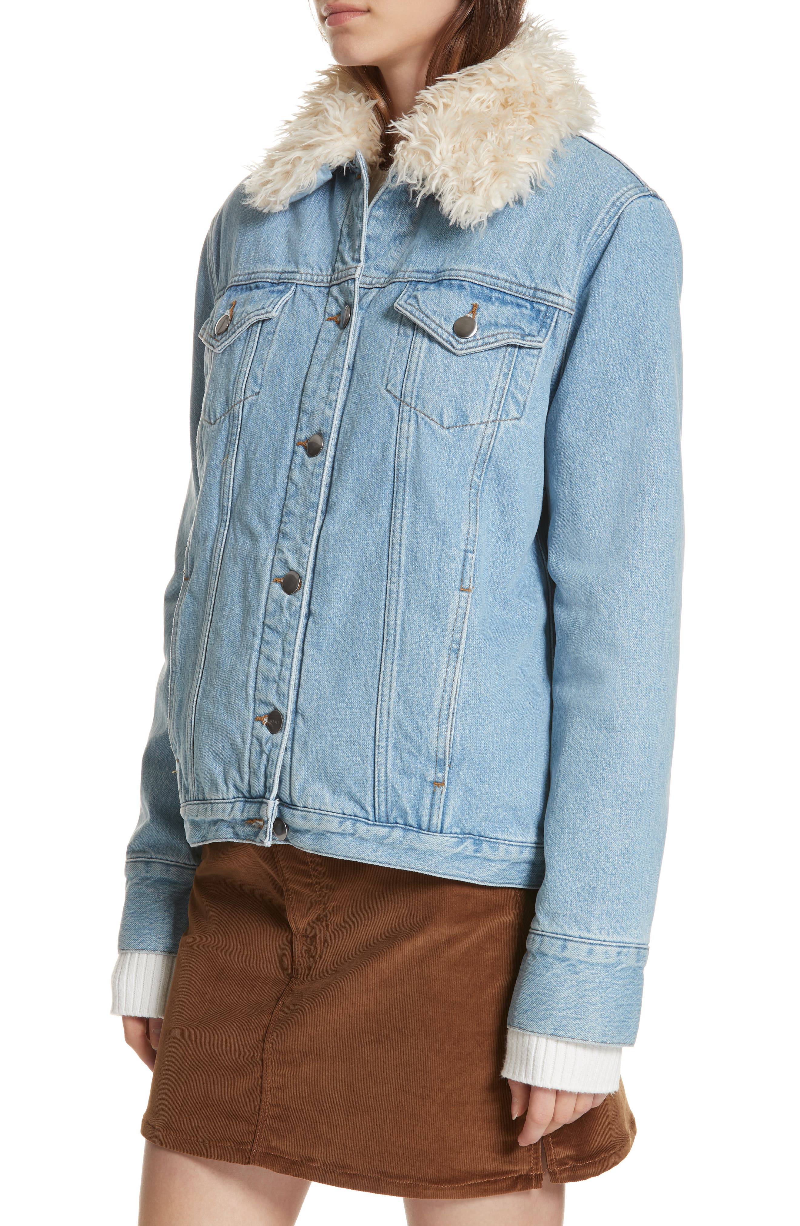 Le Curly Faux Shearling Collar Denim Jacket,                             Alternate thumbnail 4, color,                             MONROE