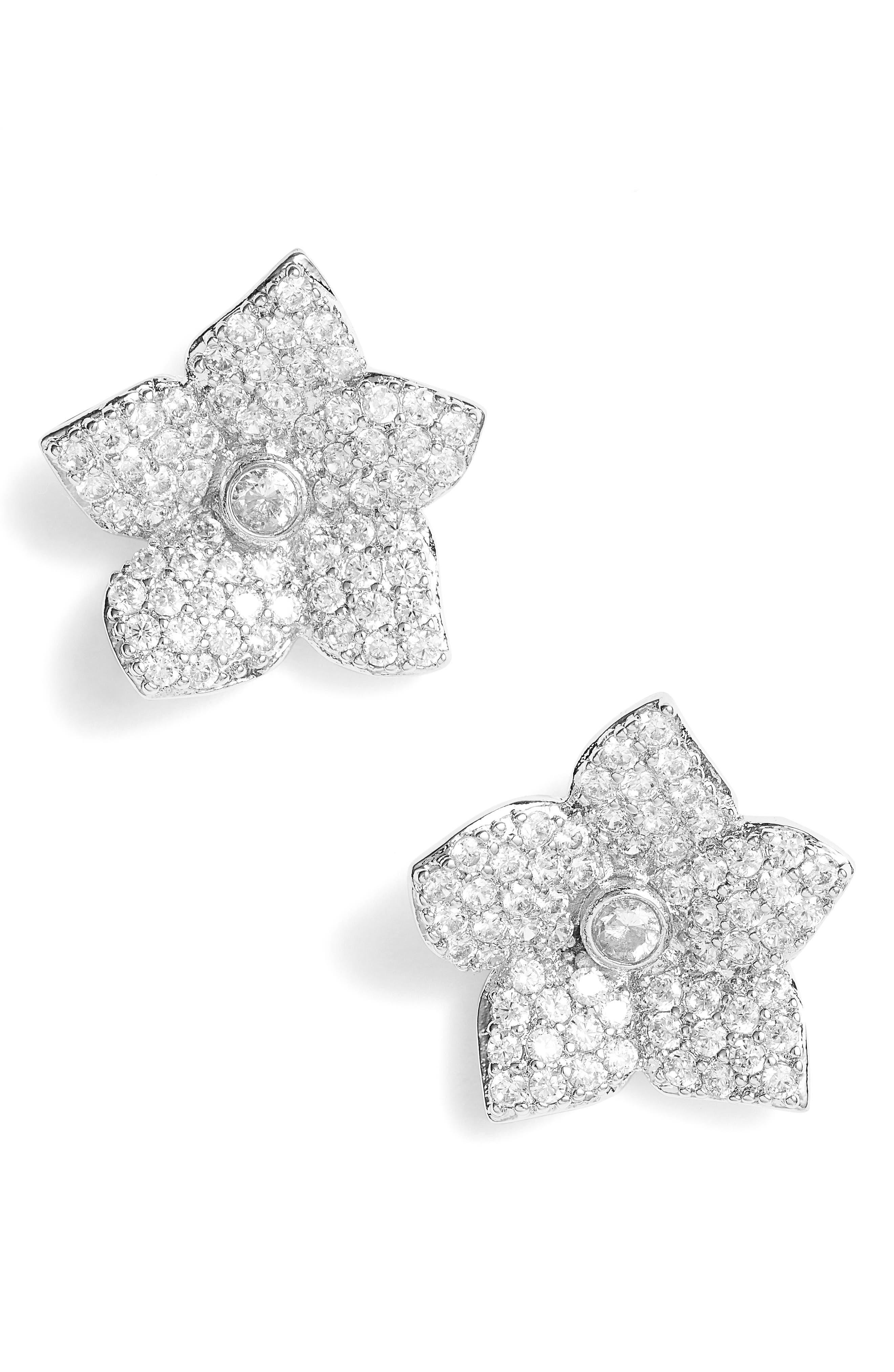 Kate Spade Blooming Pavé Stud Earrings,                         Main,                         color, 041