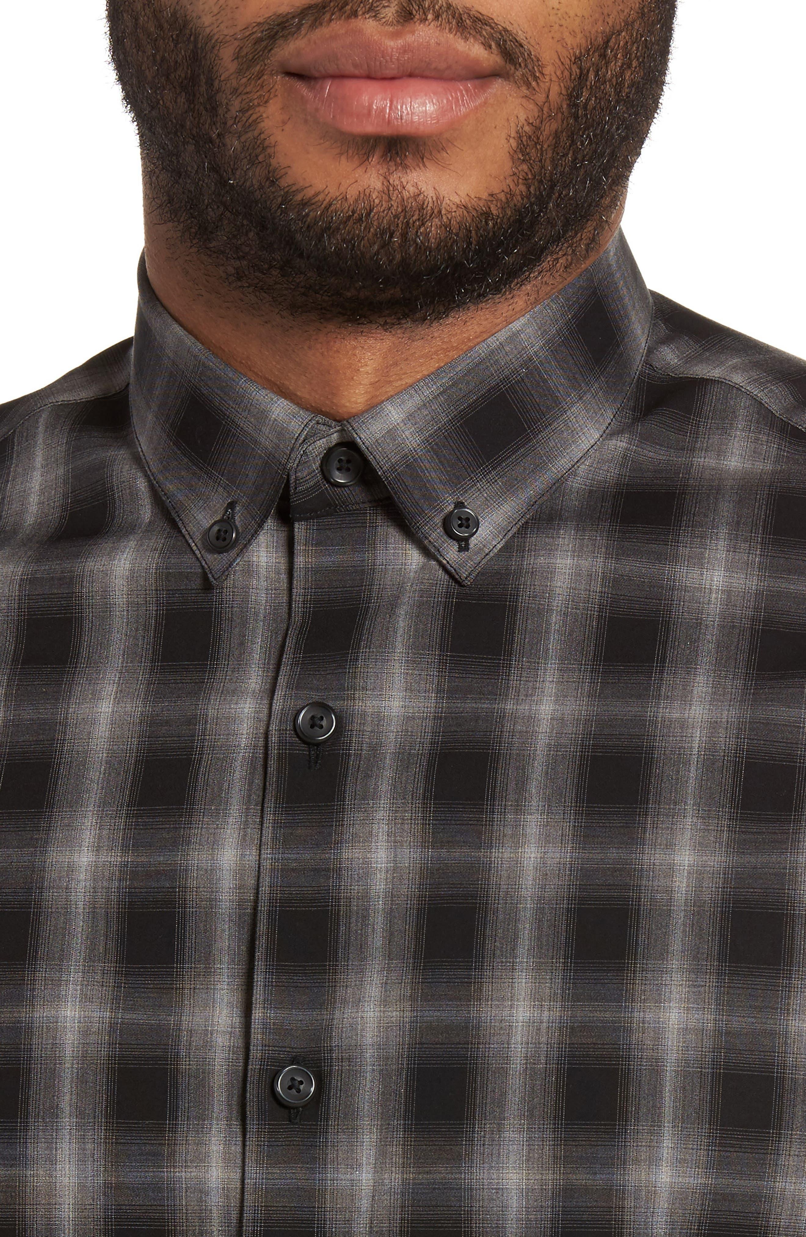 Plaid Non-Iron Sport Shirt,                             Alternate thumbnail 4, color,                             001